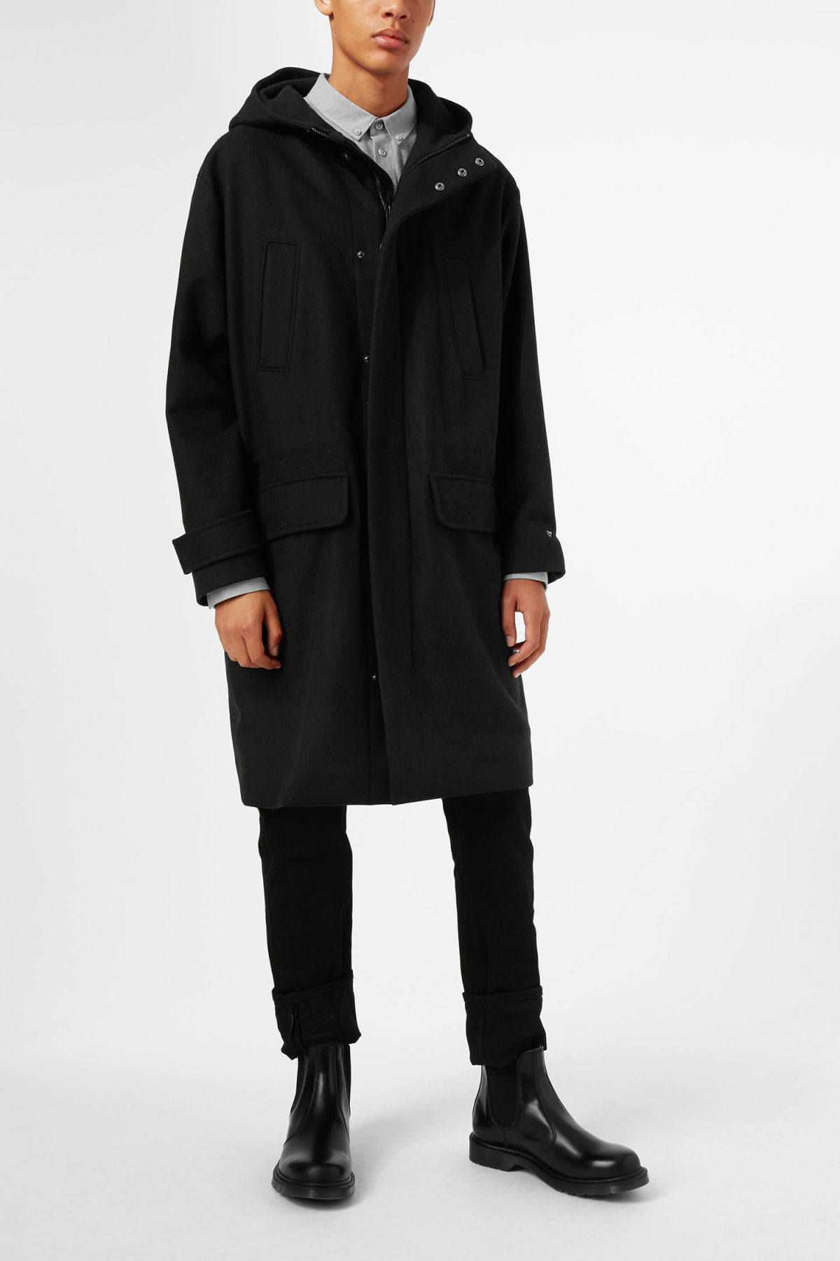 Model front image of Weekday john wool parka in blue
