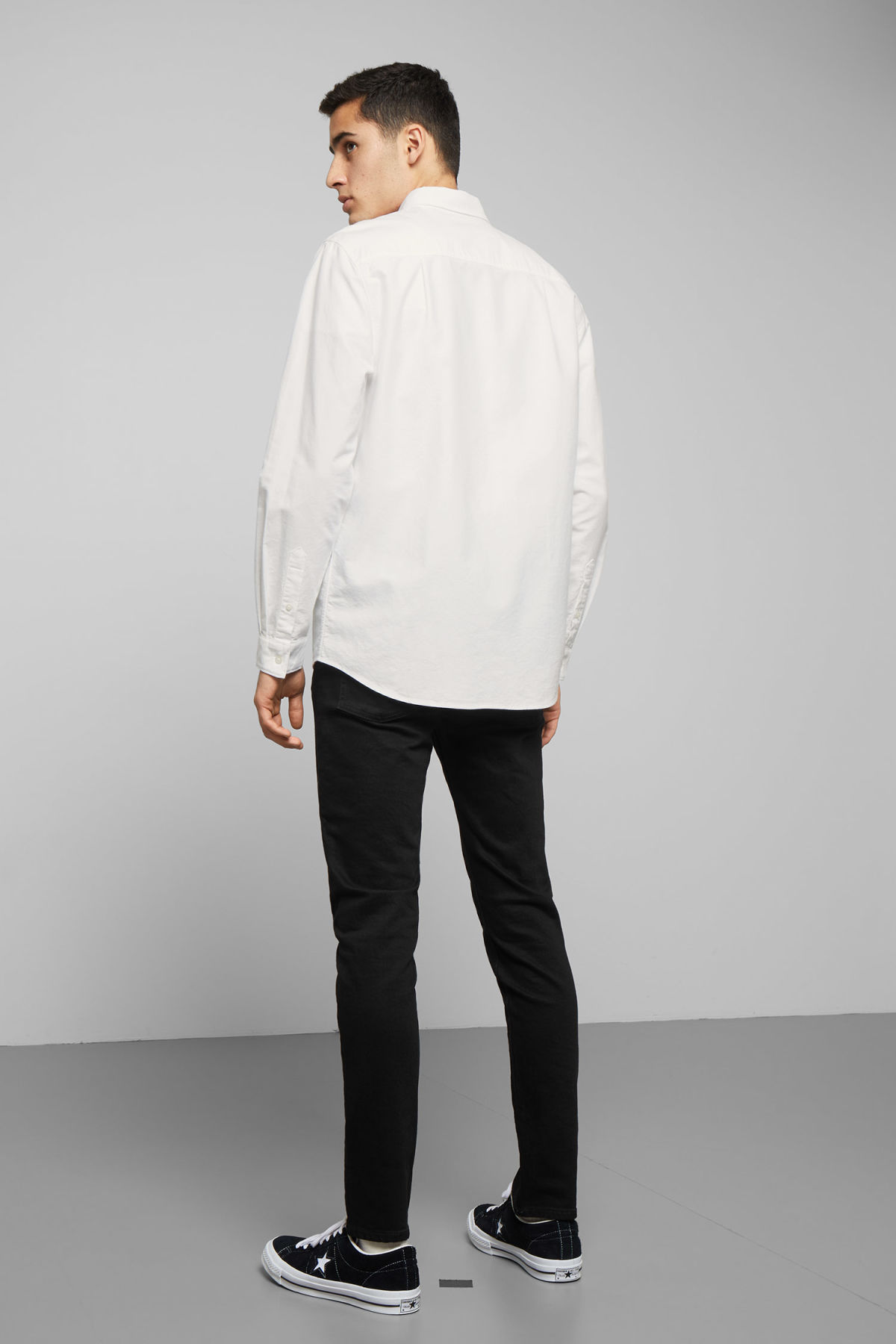 Model back image of Weekday bad times shirt in white