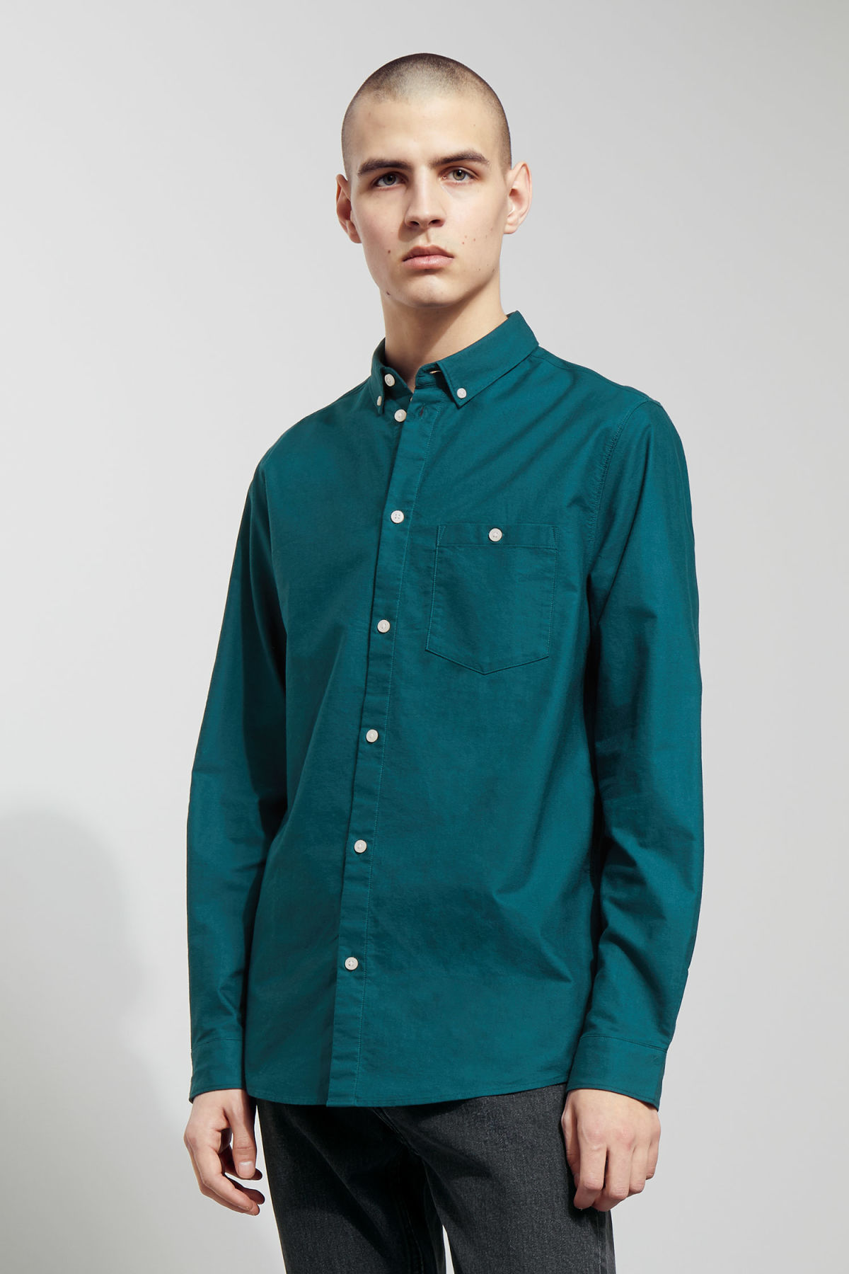 Model front image of Weekday bad times shirt in turquoise