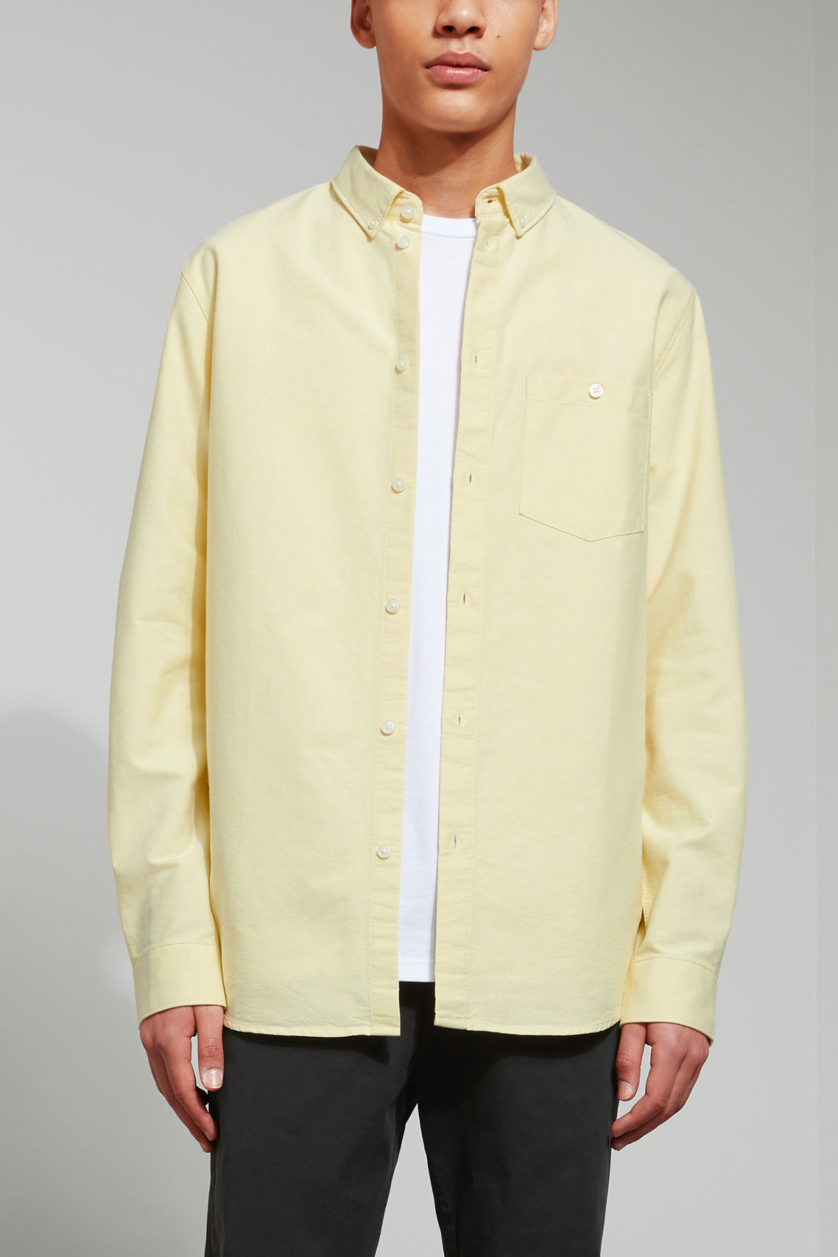 Model front image of Weekday bad times shirt in yellow