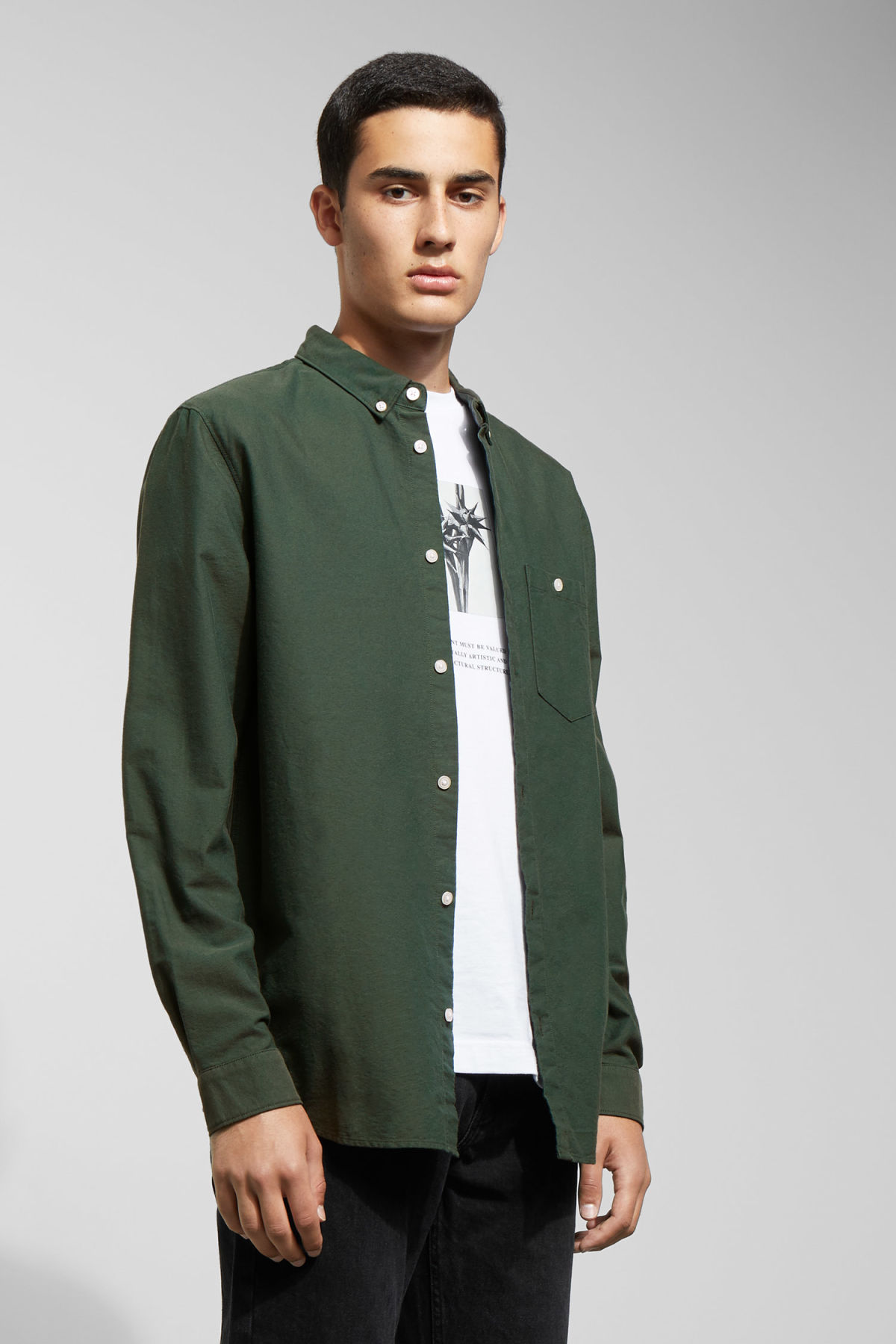Model front image of Weekday bad times shirt in green