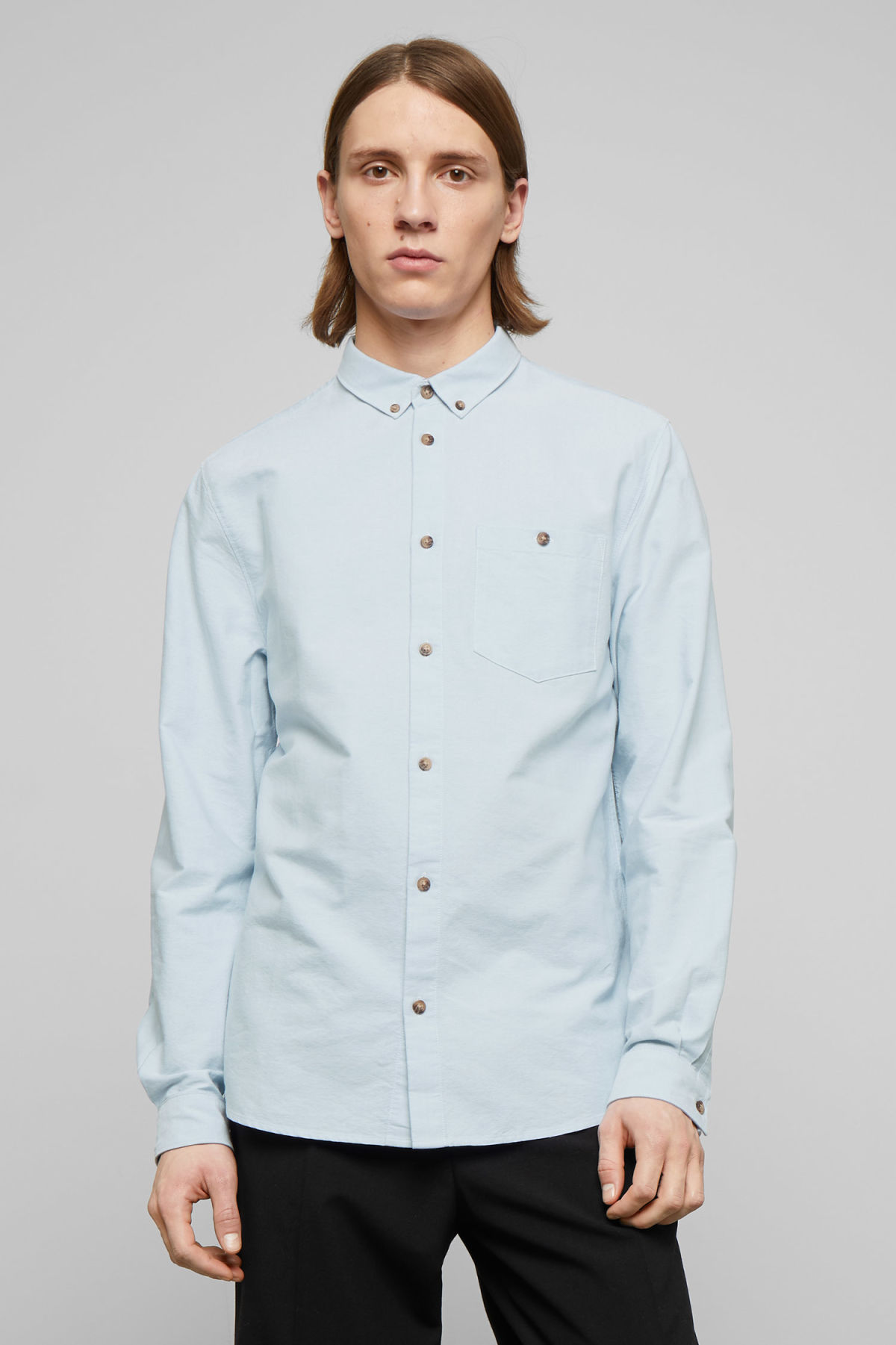 Model front image of Weekday bad times shirt in blue