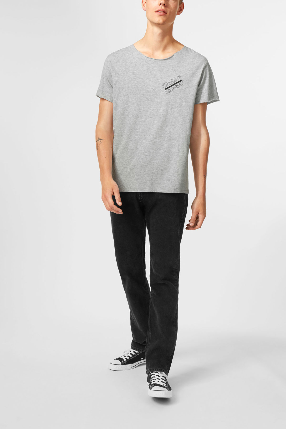 Model side image of Weekday standard edge t-shirt in grey