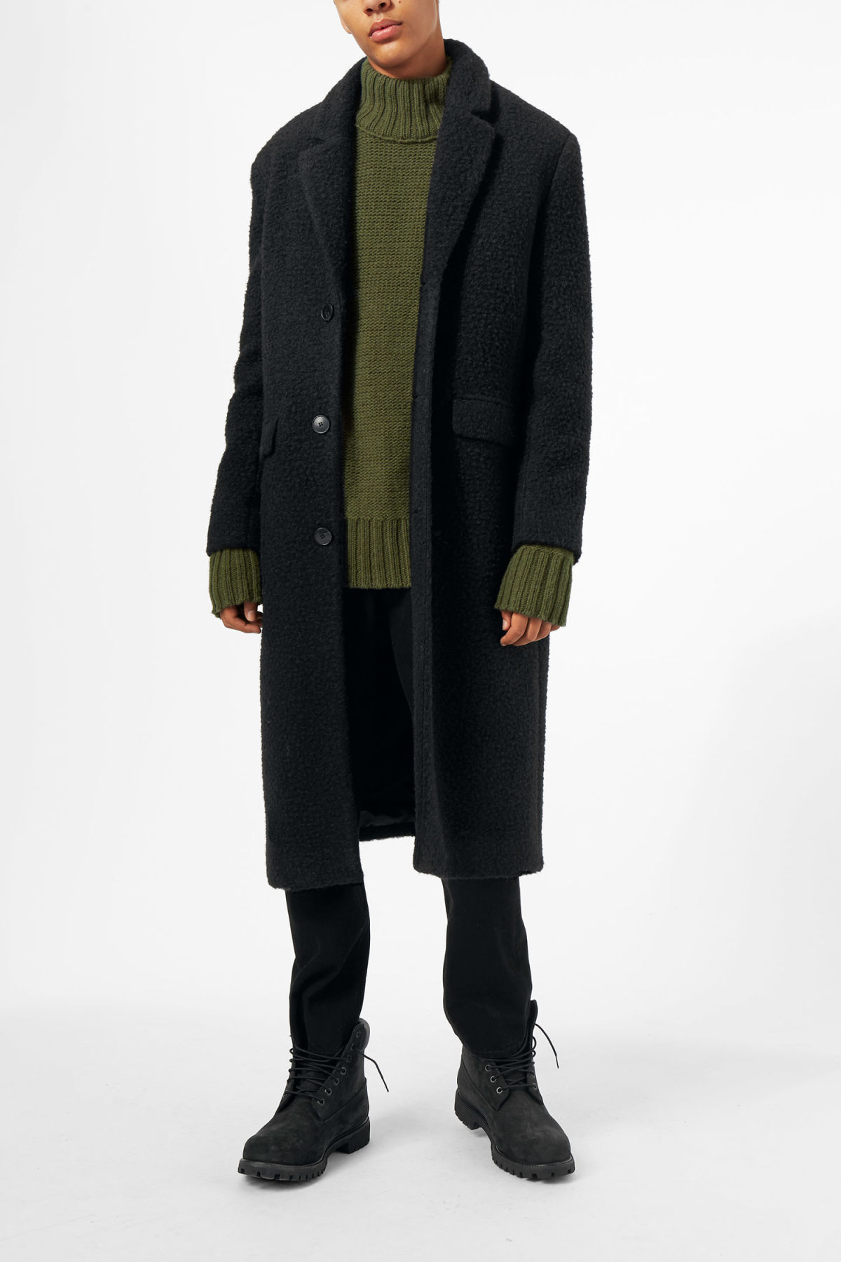 Model front image of Weekday zeke knitted coat in black