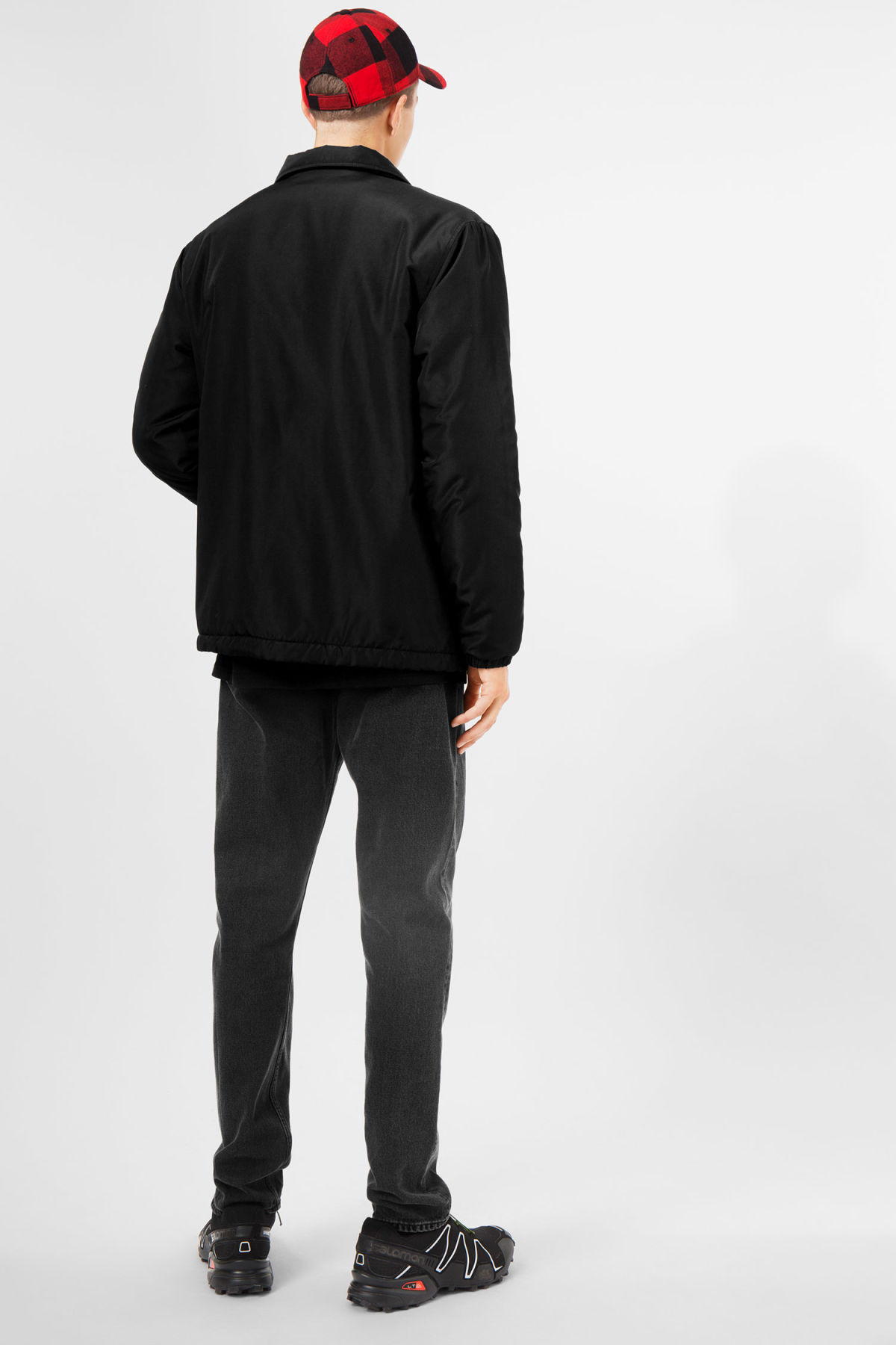 Model back image of Weekday bob coach jacket  in black
