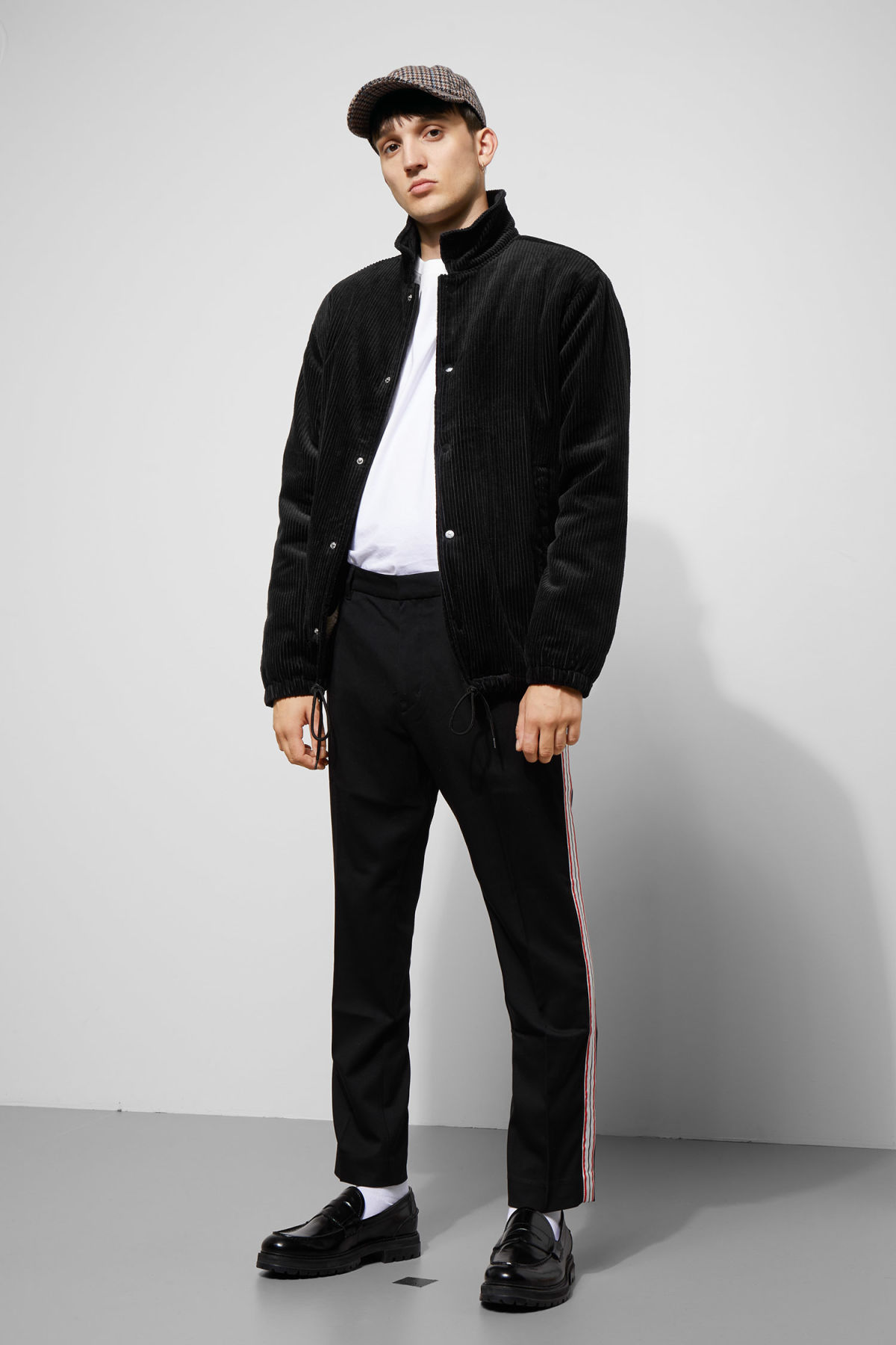 Model side image of Weekday bob coach jacket  in black