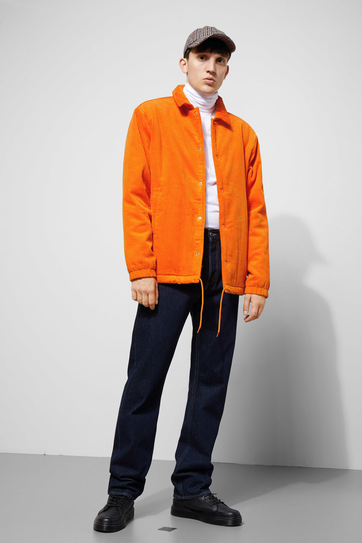Model side image of Weekday bob coach jacket  in orange