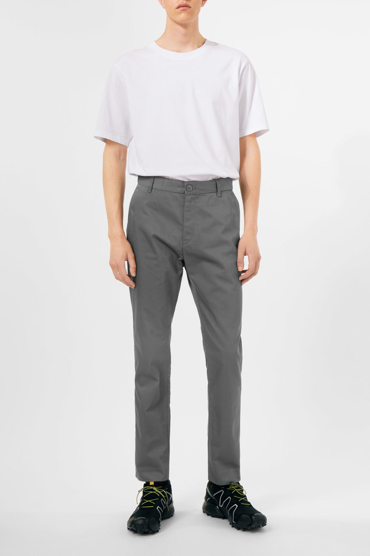 Model front image of Weekday forest chinos in grey
