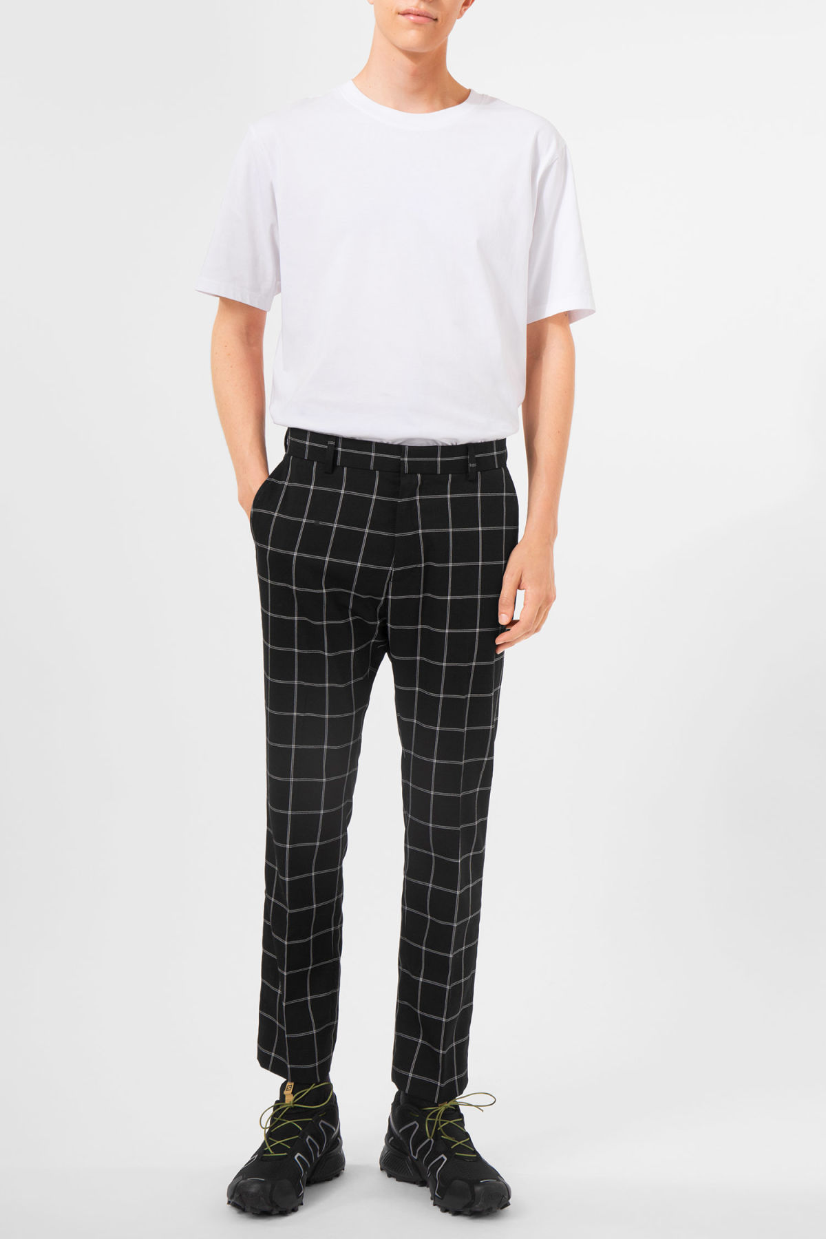 With Mastercard Cheap Price Cheap Online Store Manchester Wide Leg Check Suit Trouser - Mono check Weekday Big Discount Sale Online esrEMo