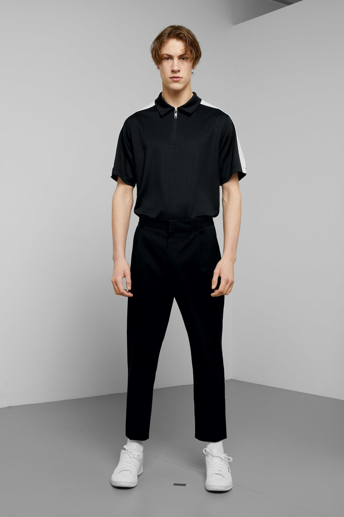 Model front image of Weekday mard crepe trousers in black