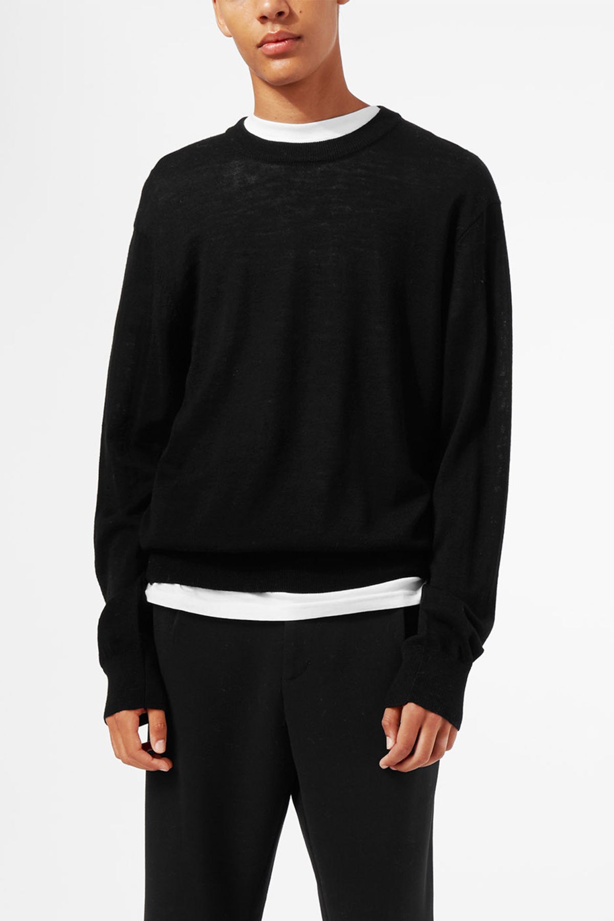Model front image of Weekday august merino sweater in black