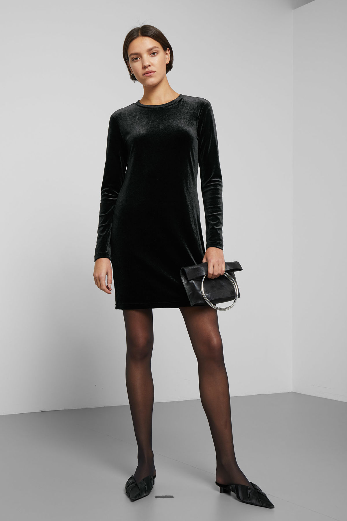 Model front image of Weekday fray dress in black