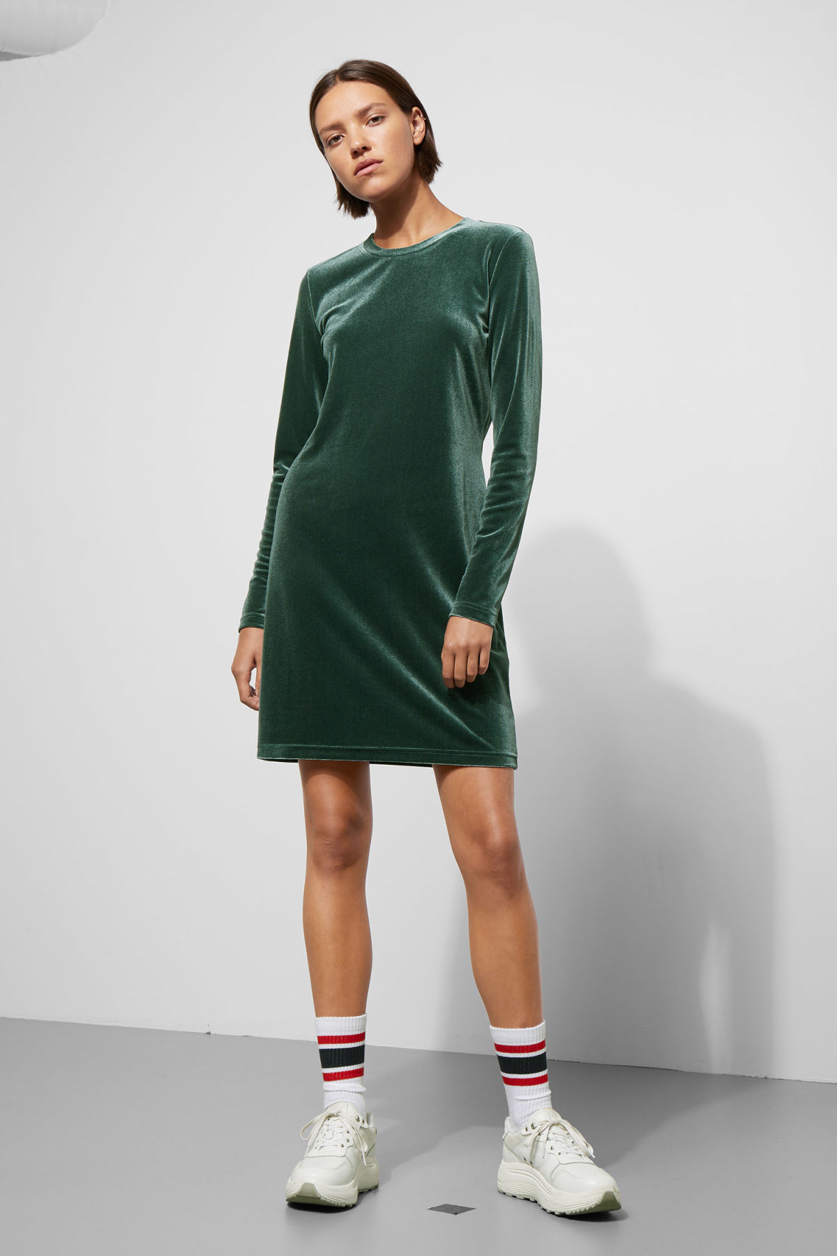 Model front image of Weekday fray dress in green