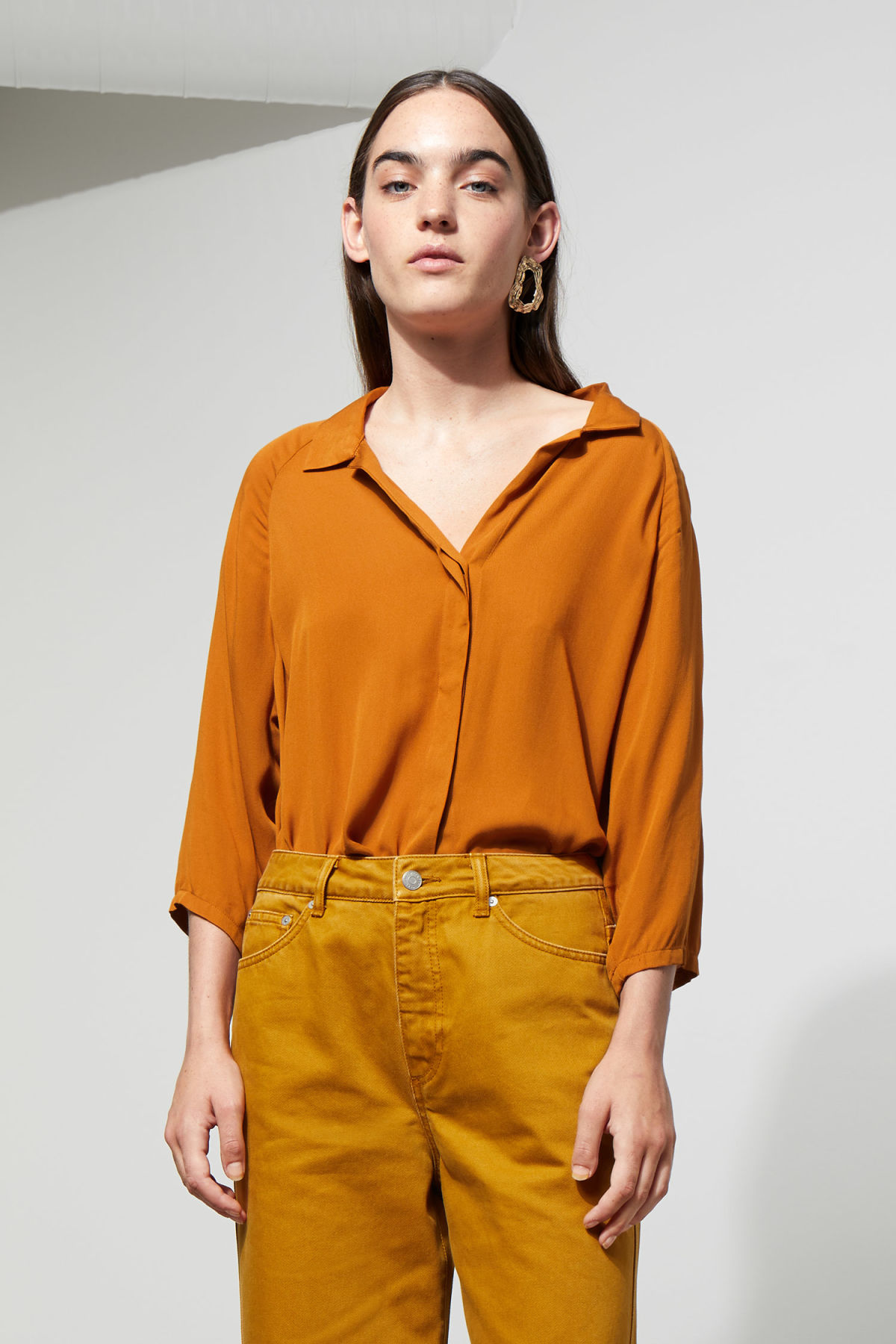 Model front image of Weekday franca blouse in yellow