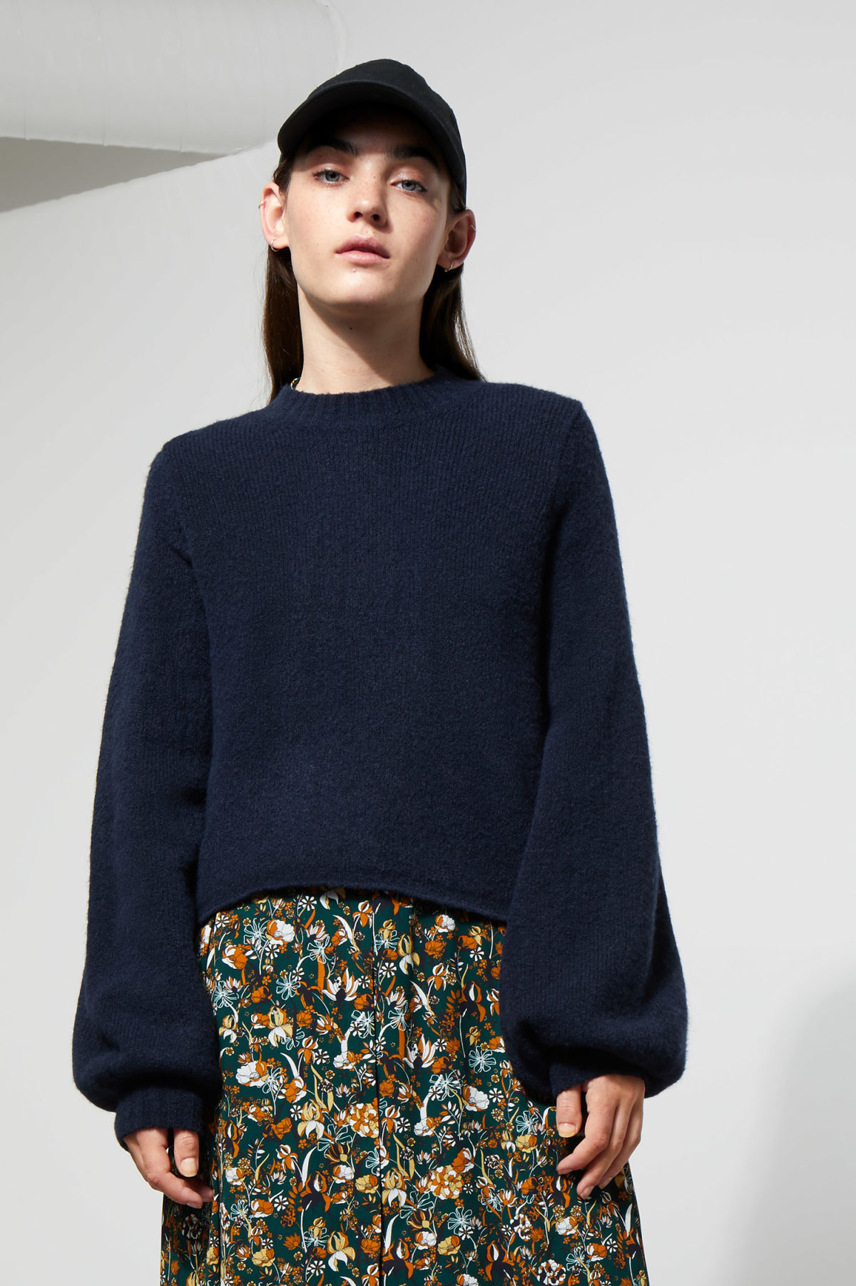 Model side image of Weekday letizia sweater in blue