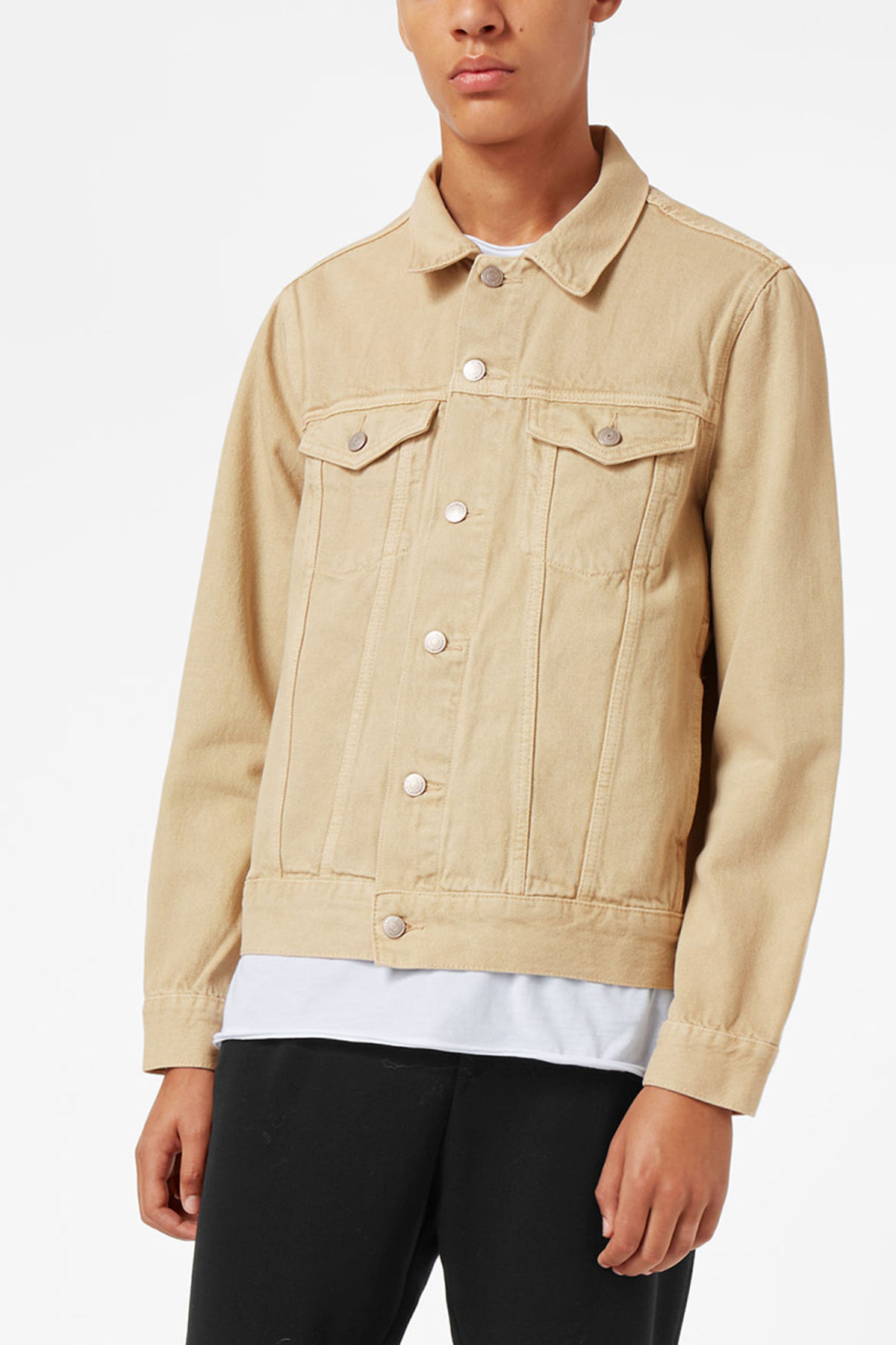 Model front image of Weekday single jacket  in beige