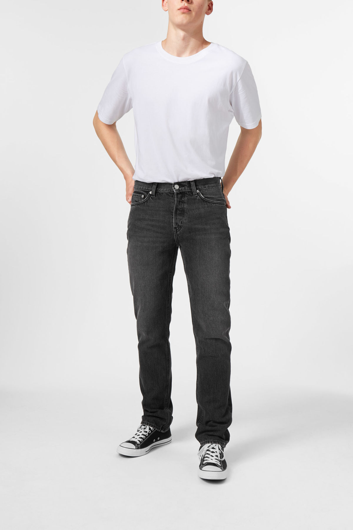 Model side image of Weekday vacant wow black jeans in black