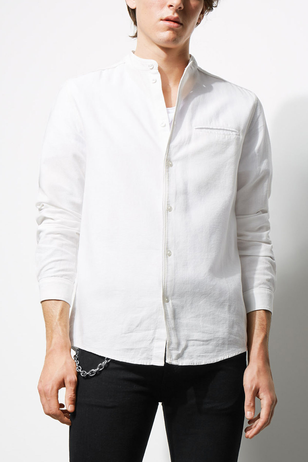 Model front image of Weekday hunt shirt in white