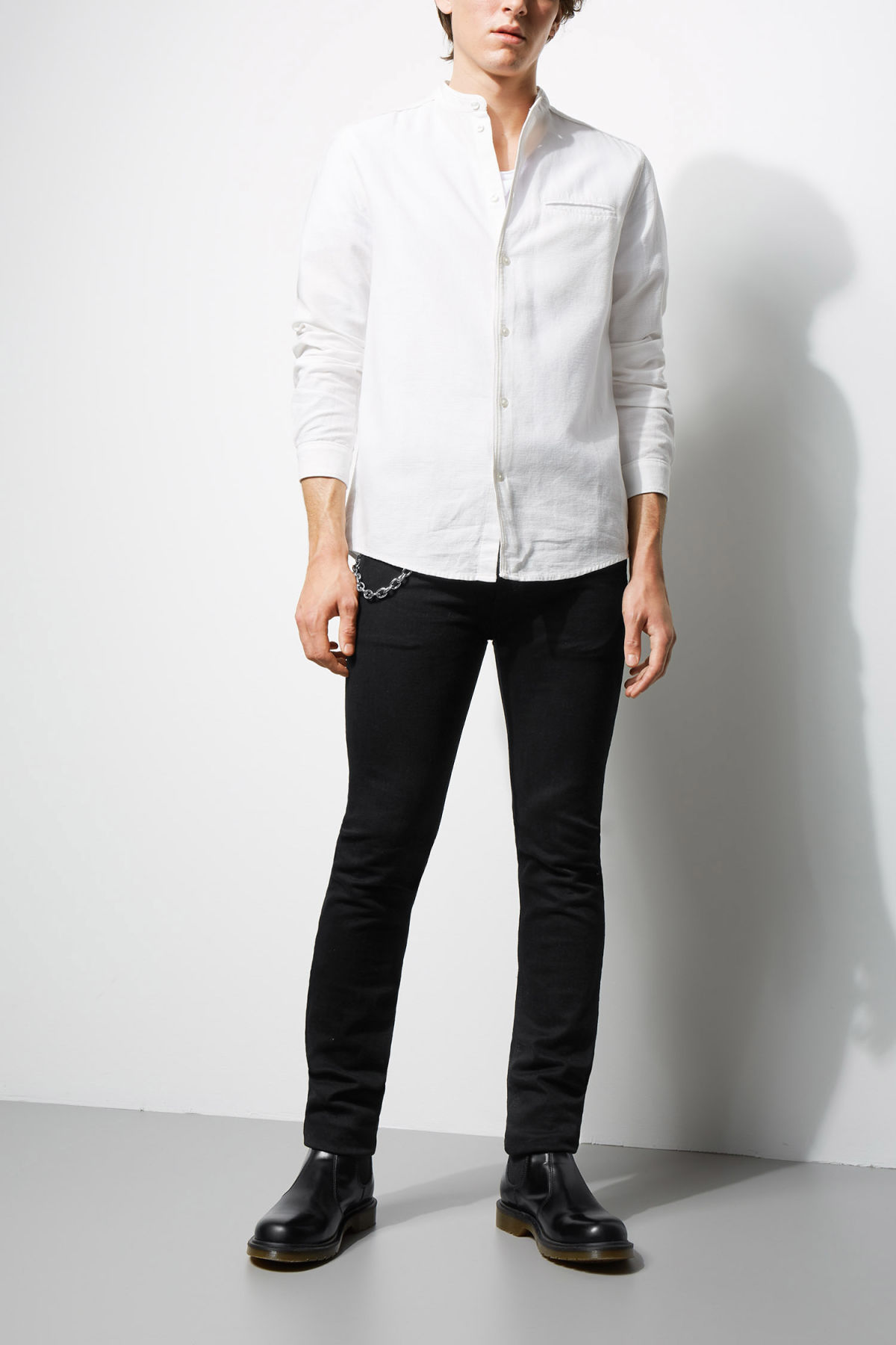 Model side image of Weekday hunt shirt in white