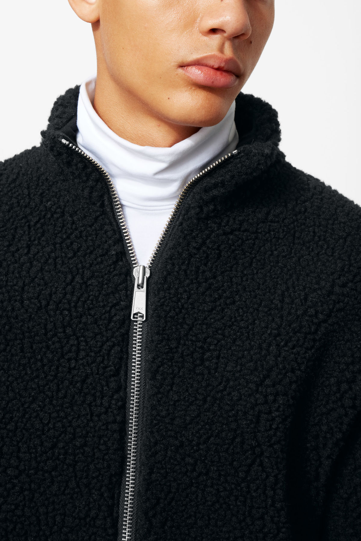 Model front image of Weekday wes zip sweater in black
