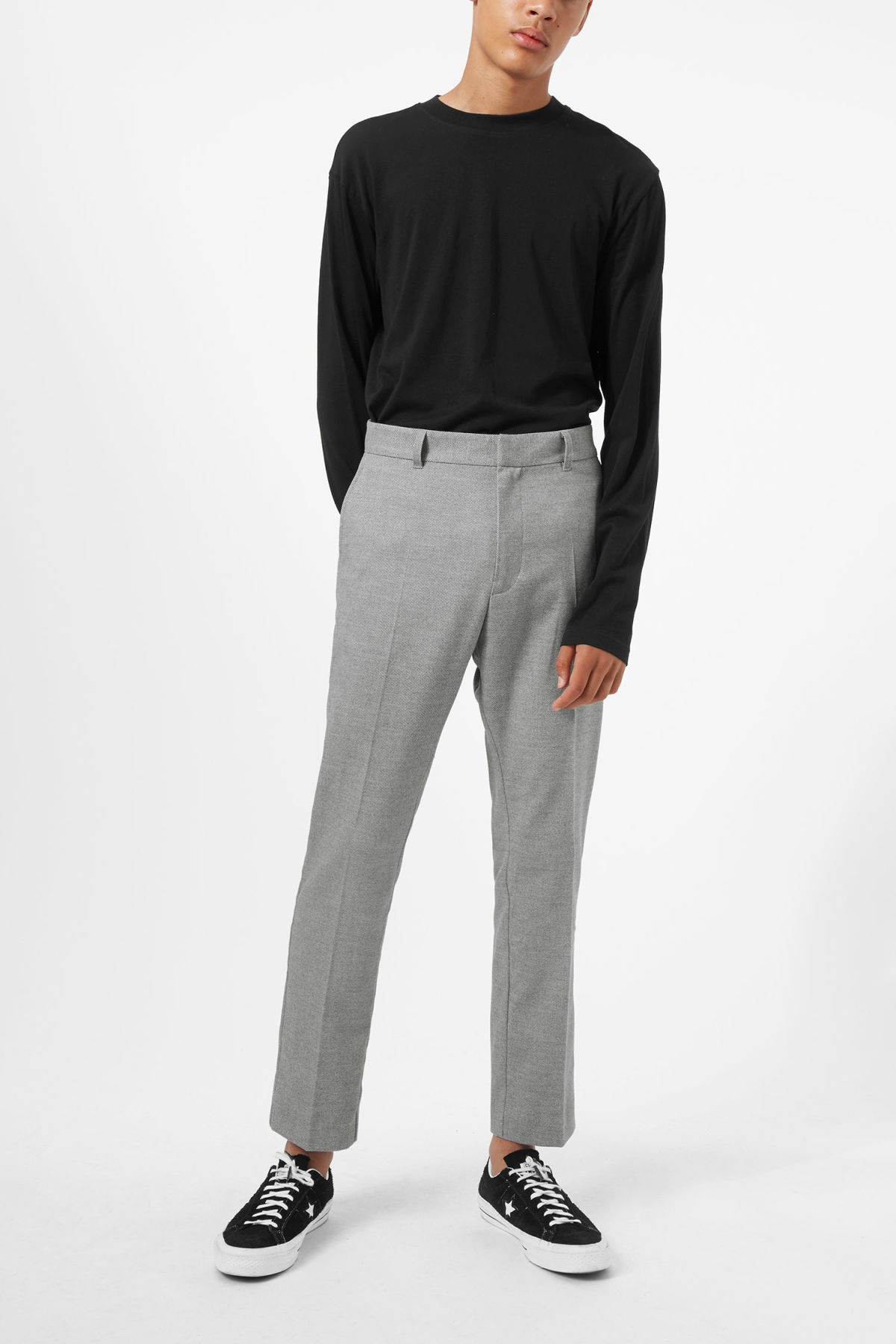 Model front image of Weekday lund suit trouser in grey