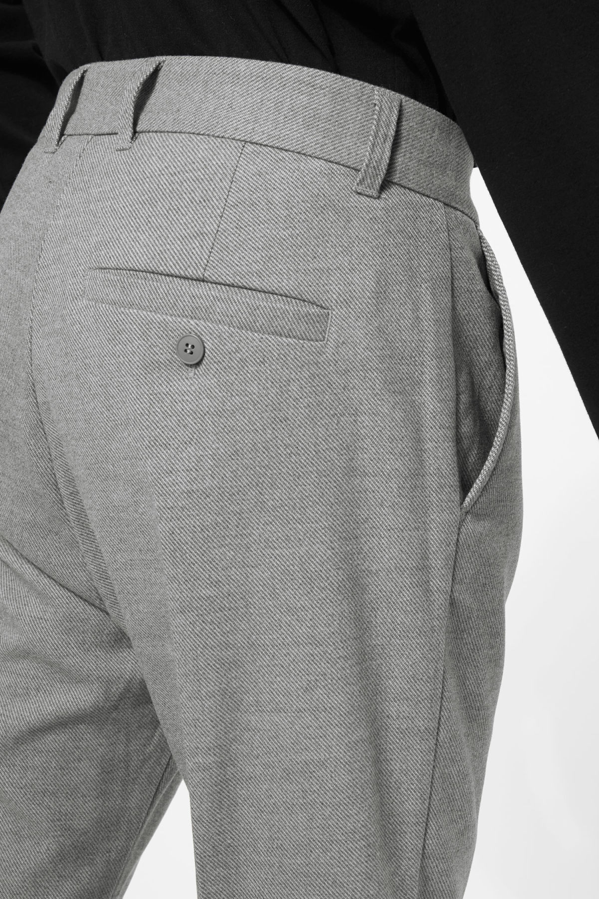 Model side image of Weekday lund suit trouser in grey