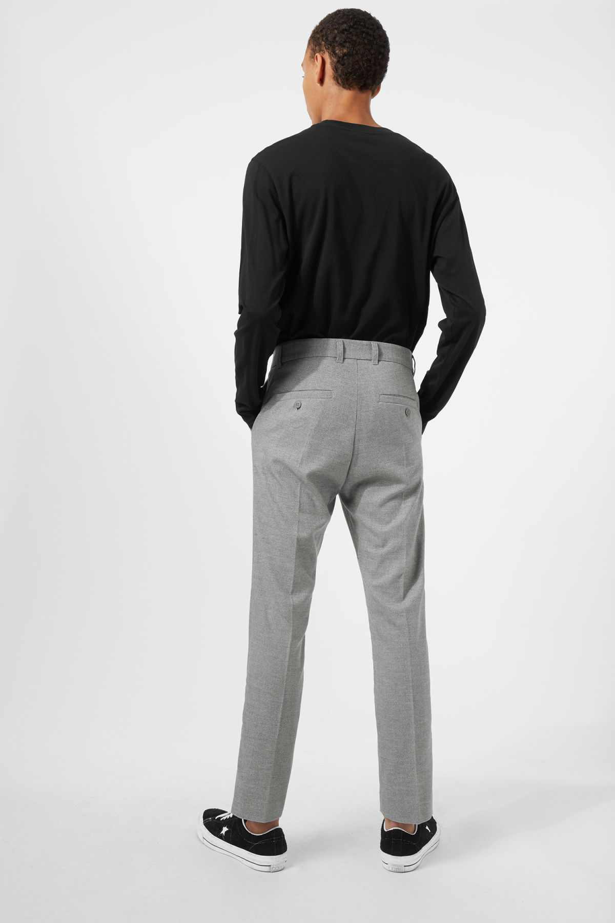Model back image of Weekday lund suit trouser in grey