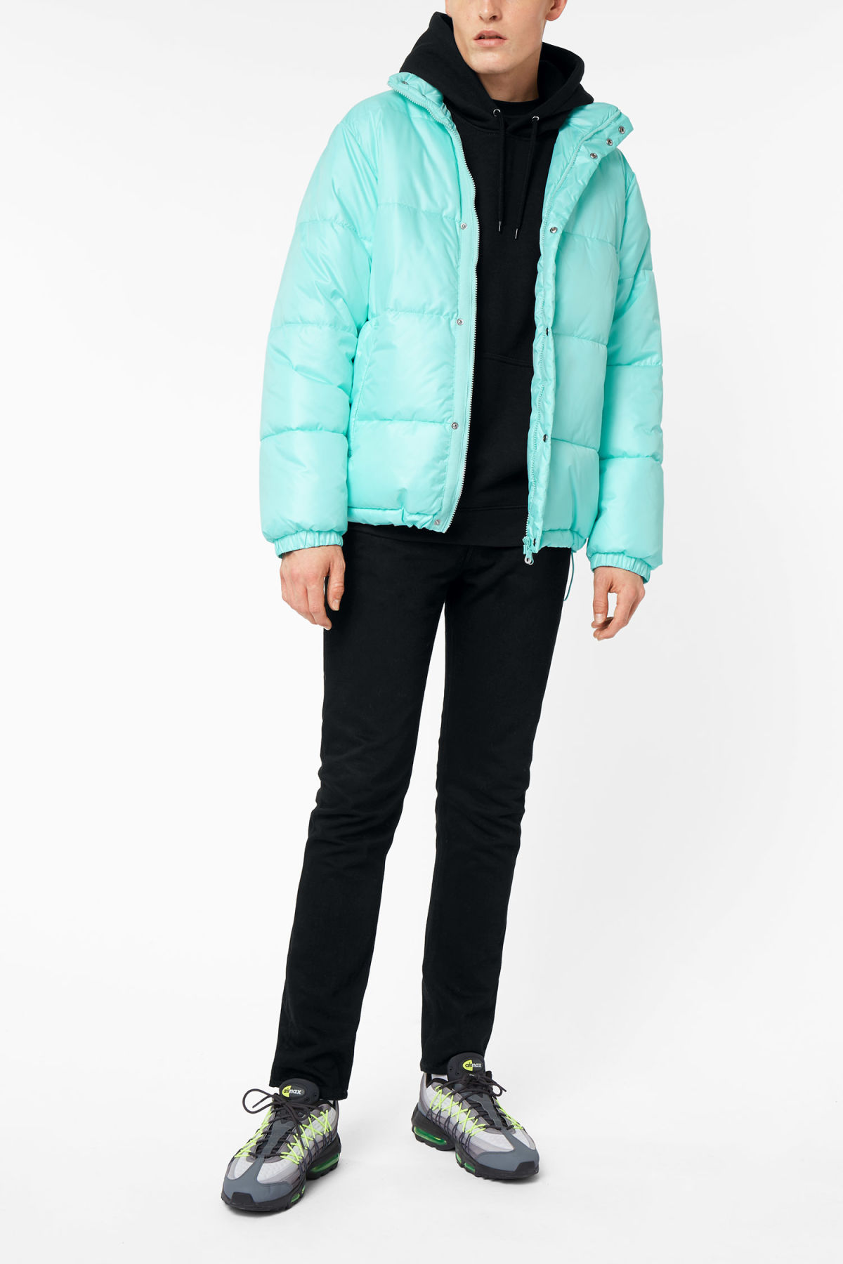 Model side image of Weekday ply jacket in turquoise