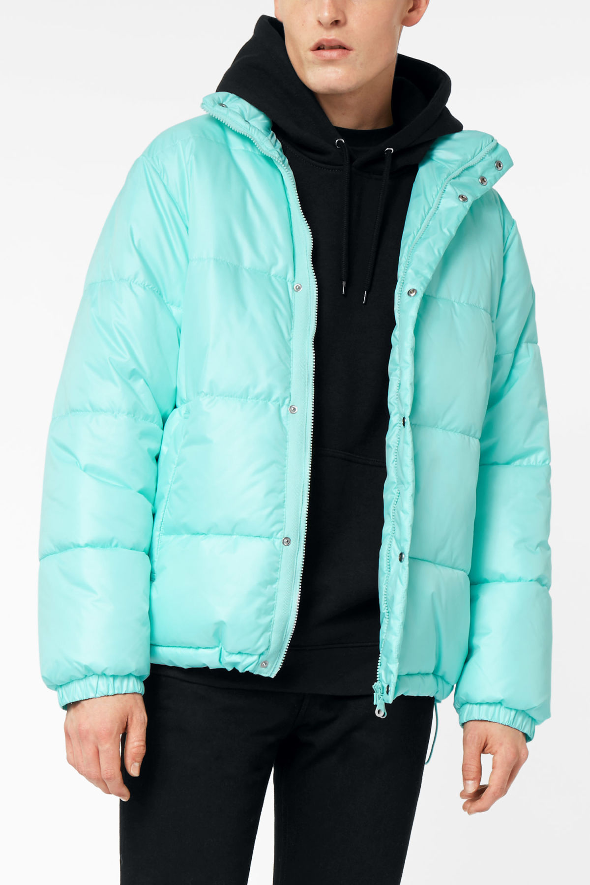 Model front image of Weekday ply jacket in turquoise