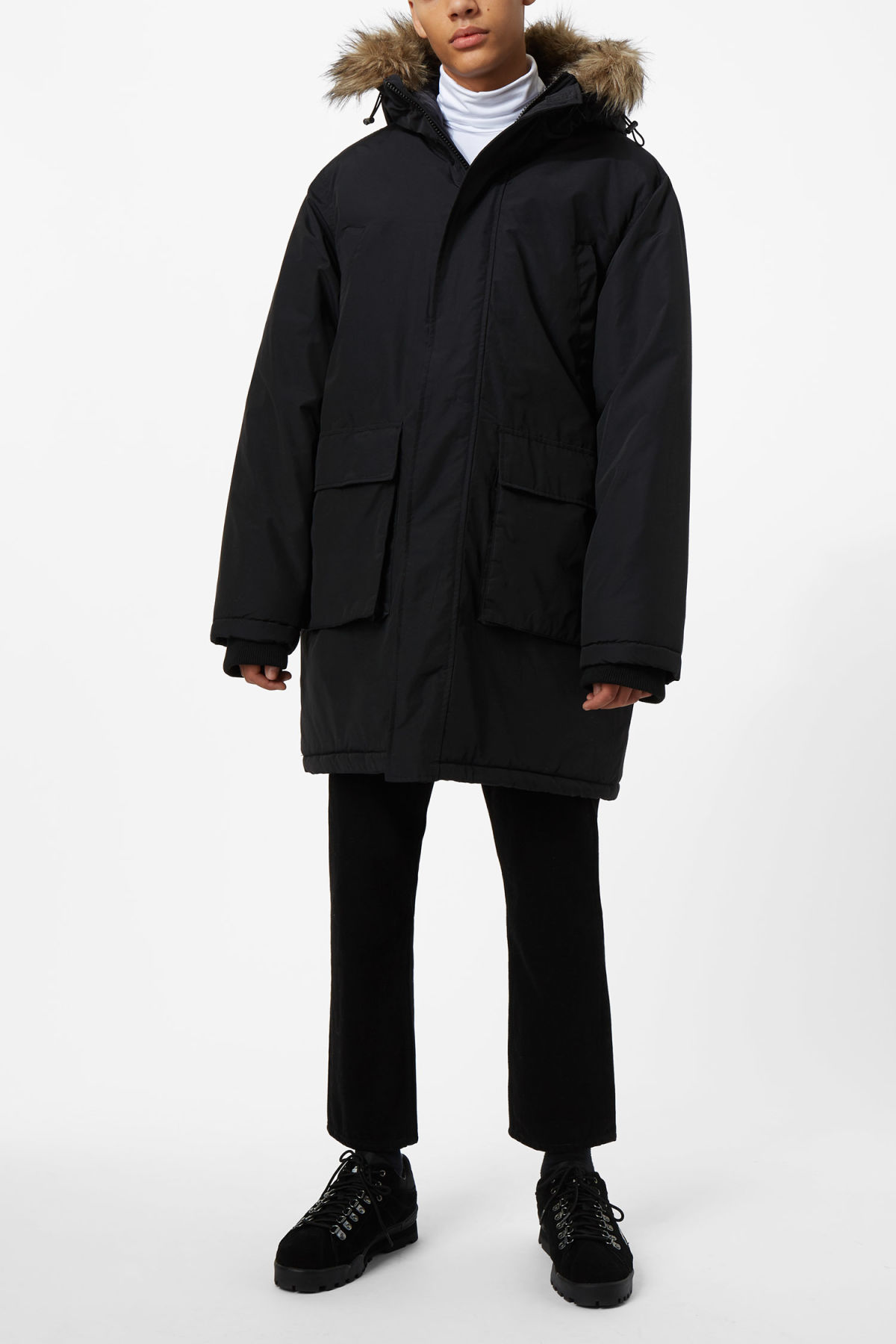 Model front image of Weekday ed parka in black