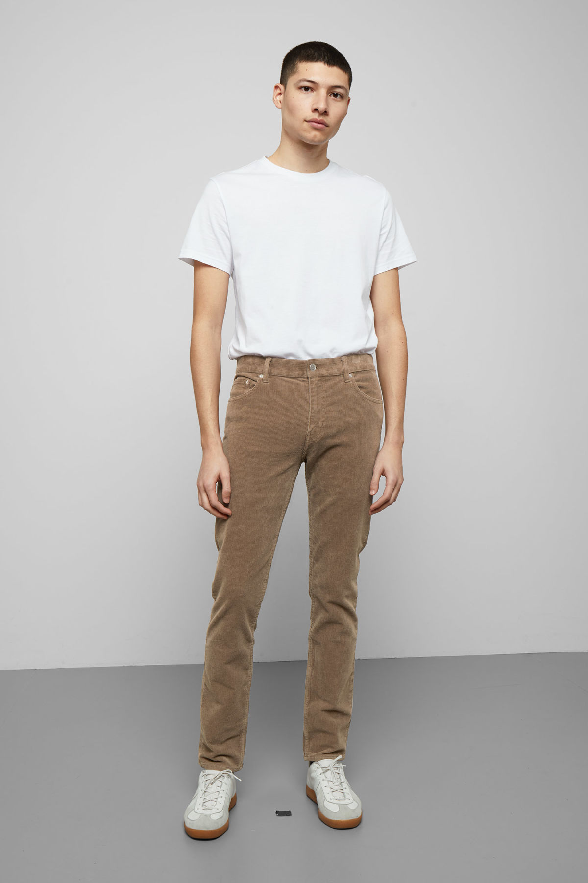 Model front image of Weekday friday corduroy in beige