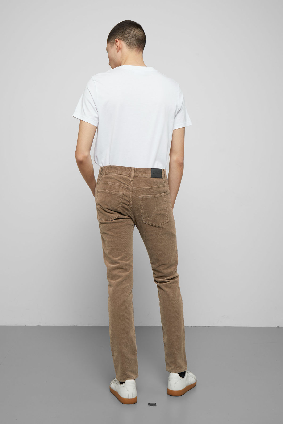 Model back image of Weekday friday corduroy trousers in beige