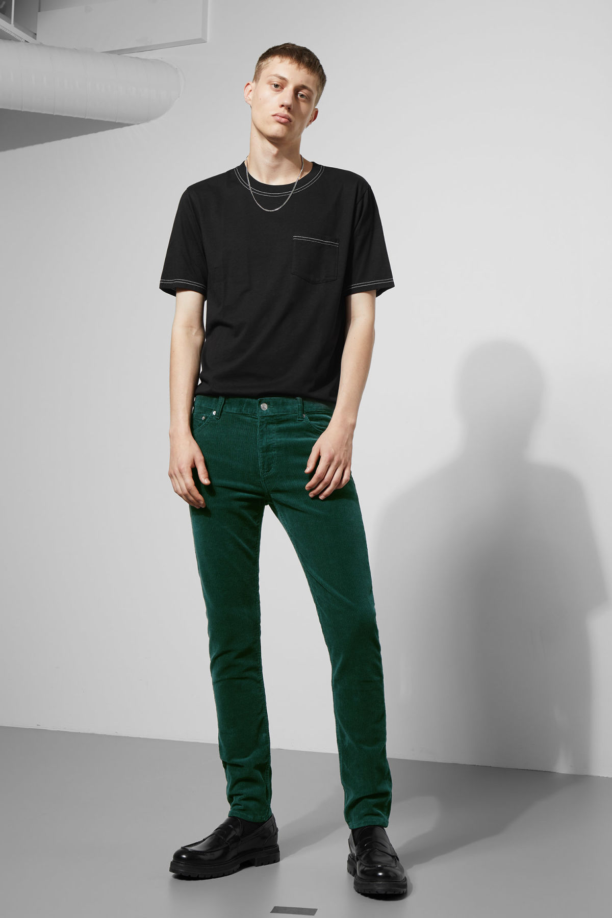 Model front image of Weekday friday corduroy in green