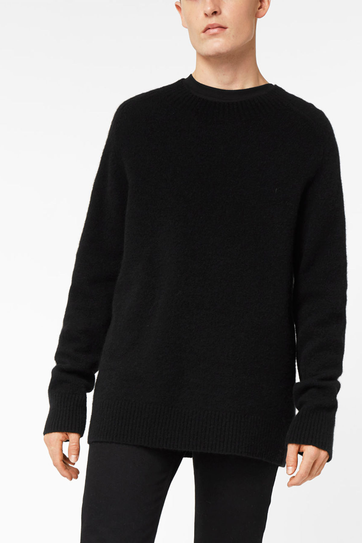 Model front image of Weekday grint wool sweater in black