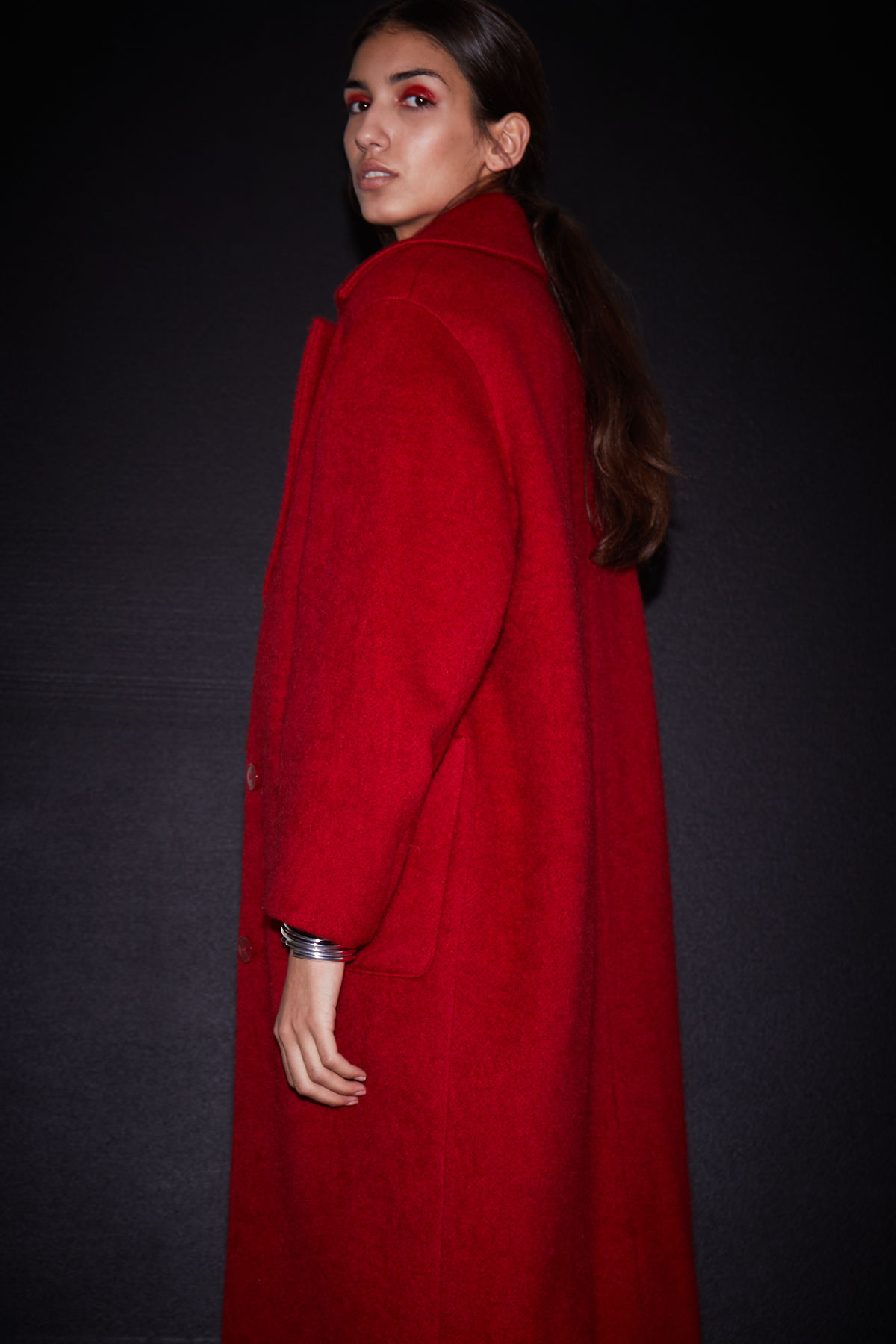 Model front image of Weekday mario coat in red