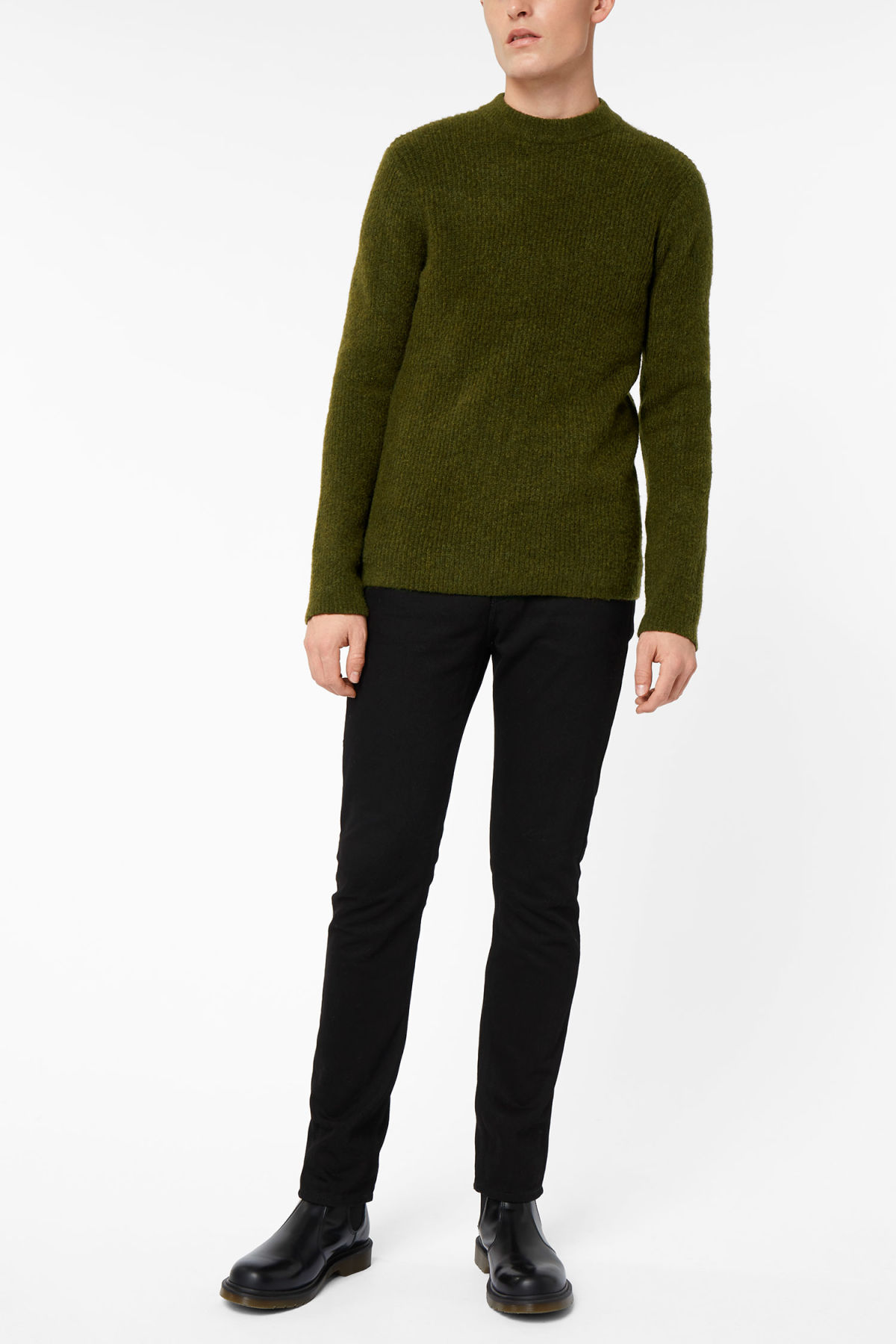 Model front image of Weekday mino sweater in beige