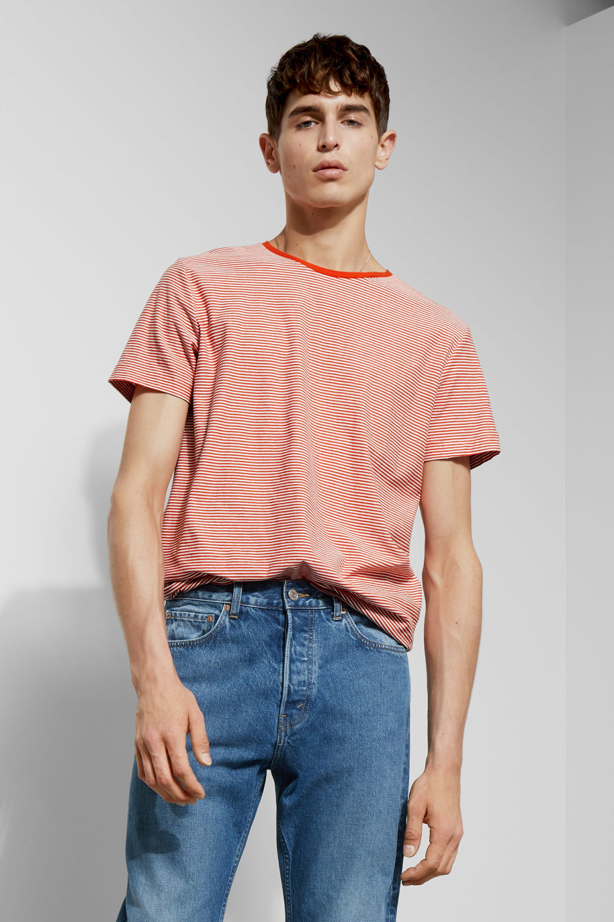 Model front image of Weekday darko stripe t-shirt in orange