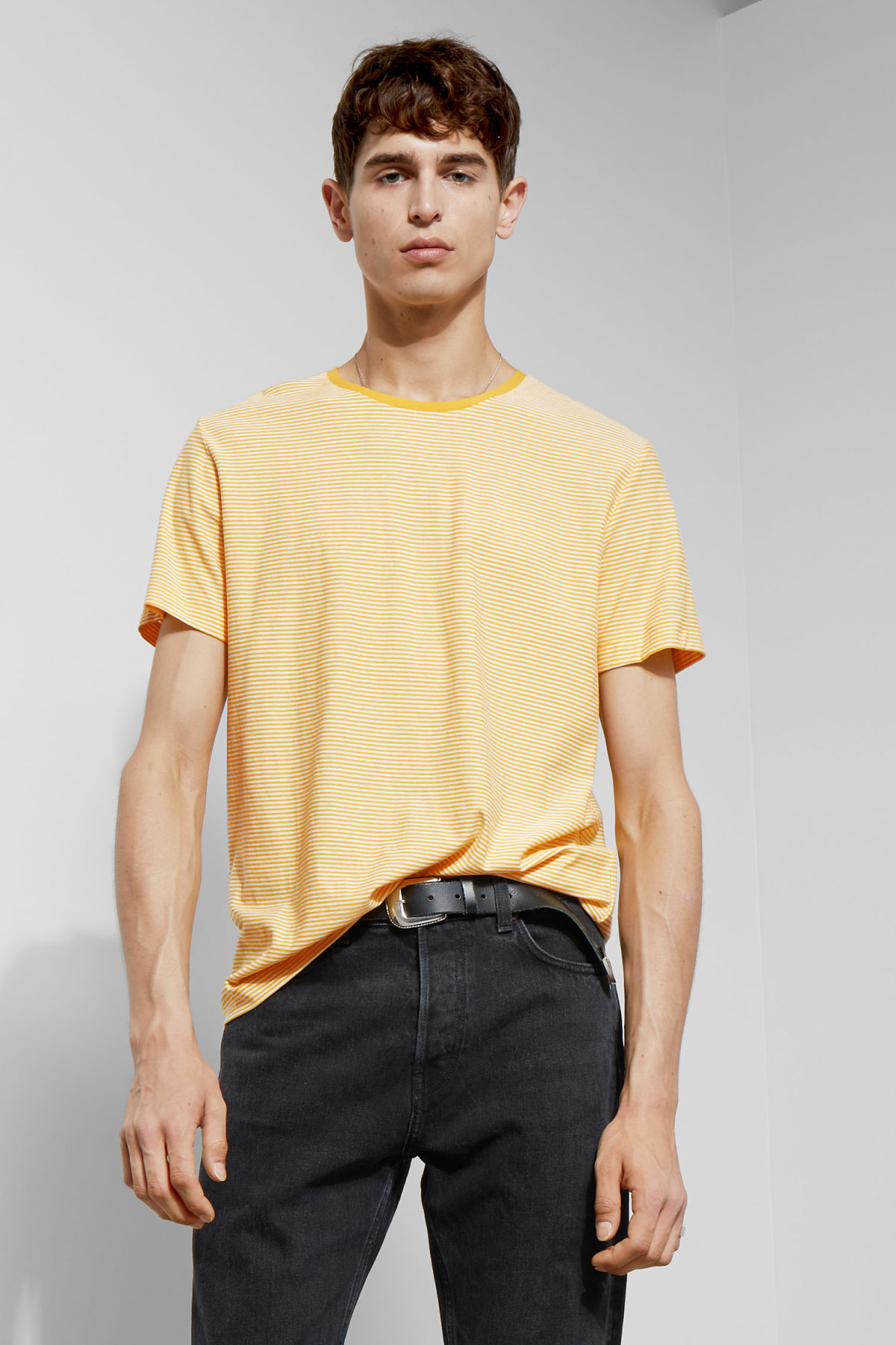 Model front image of Weekday darko stripe t-shirt in yellow