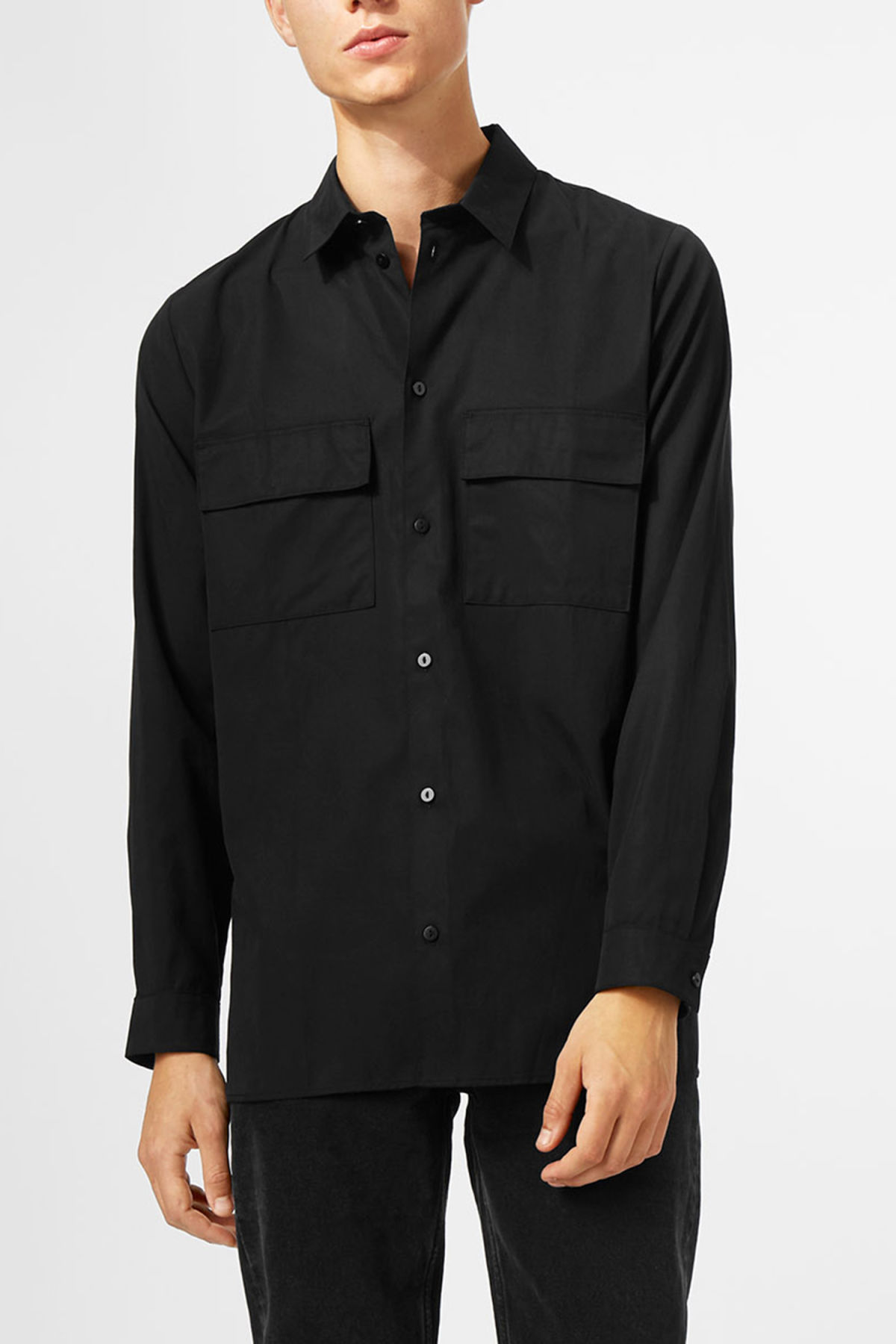 Model front image of Weekday hudson shirt in black