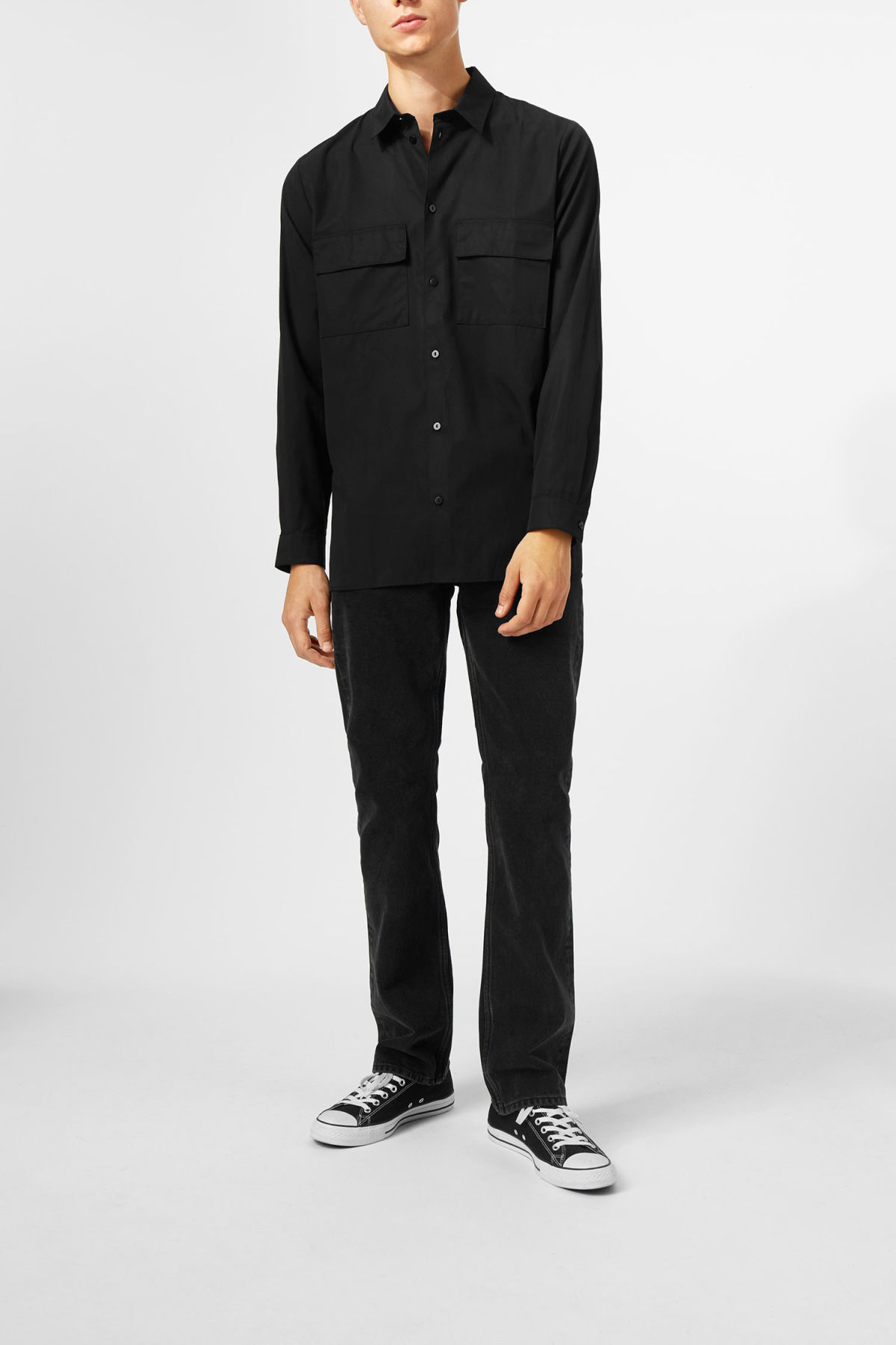 Model side image of Weekday hudson shirt in black
