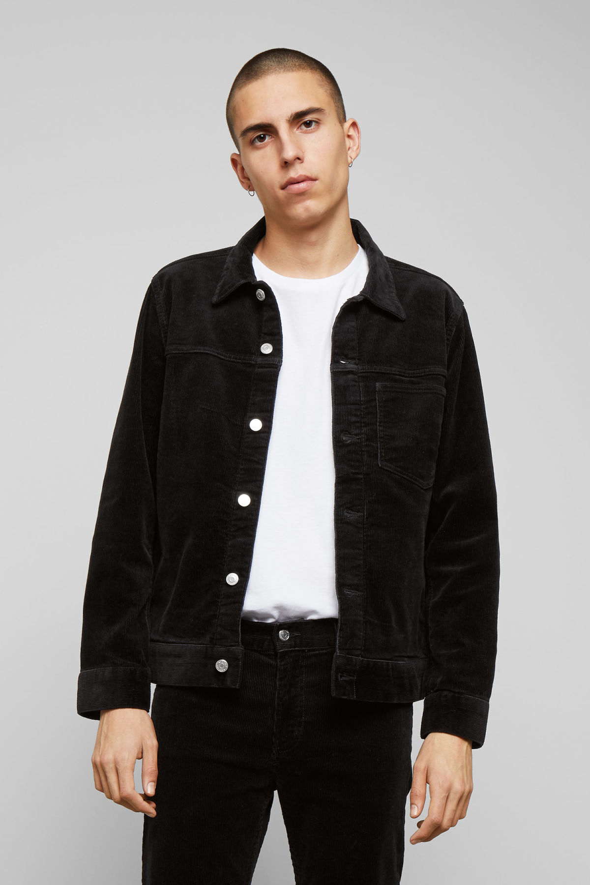 Model front image of Weekday single corduroy jacket in black