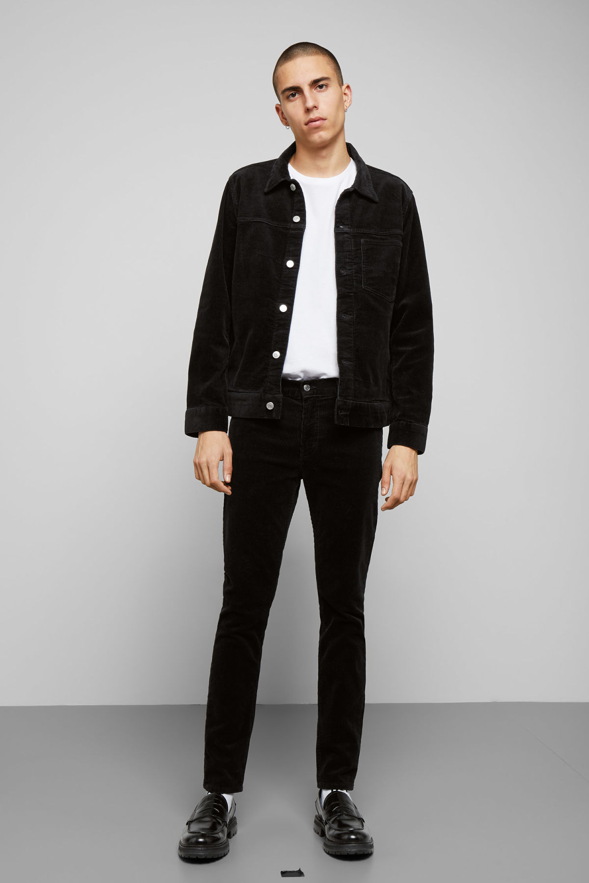 Model side image of Weekday single corduroy jacket in black