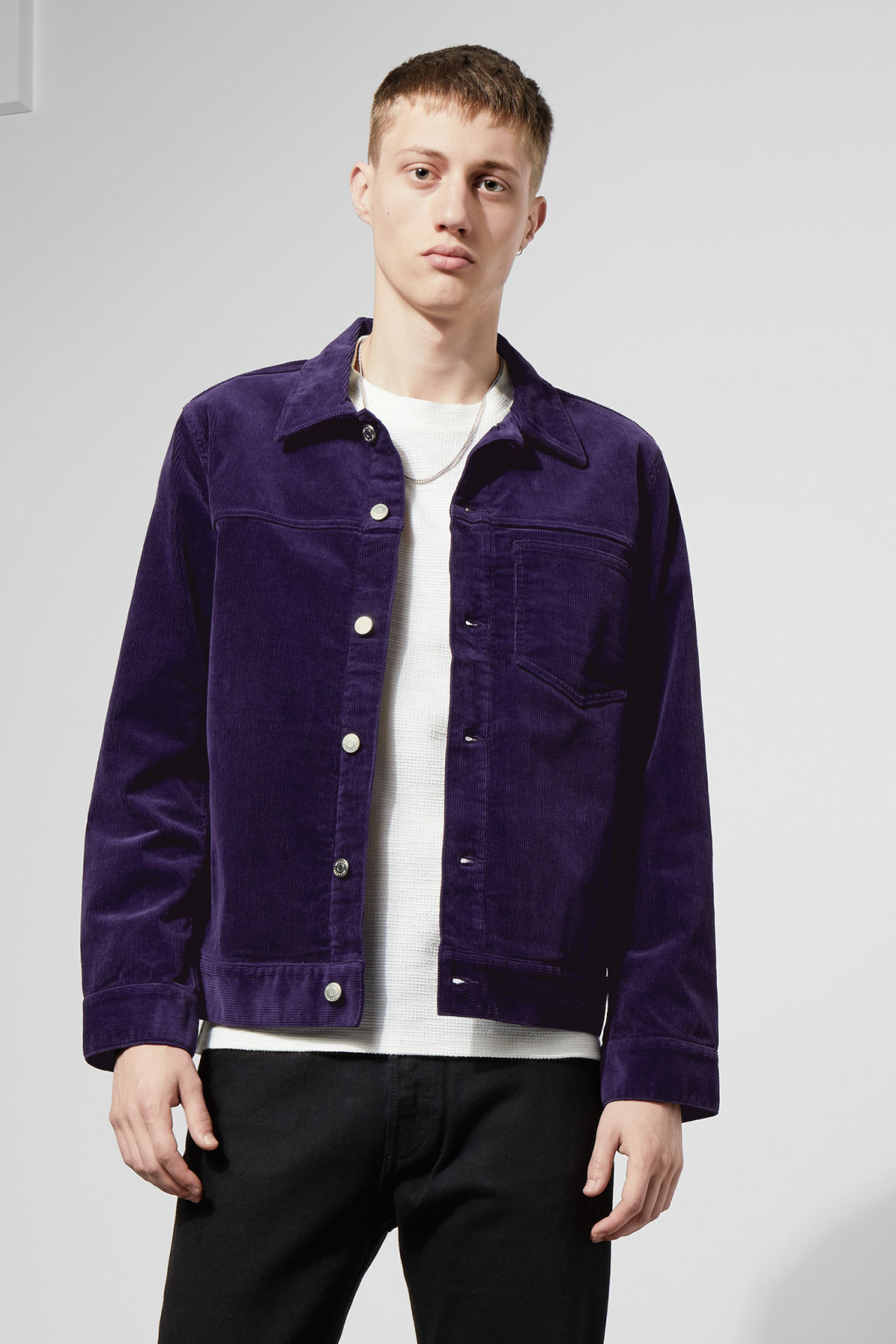 Model front image of Weekday single corduroy jacket in purple