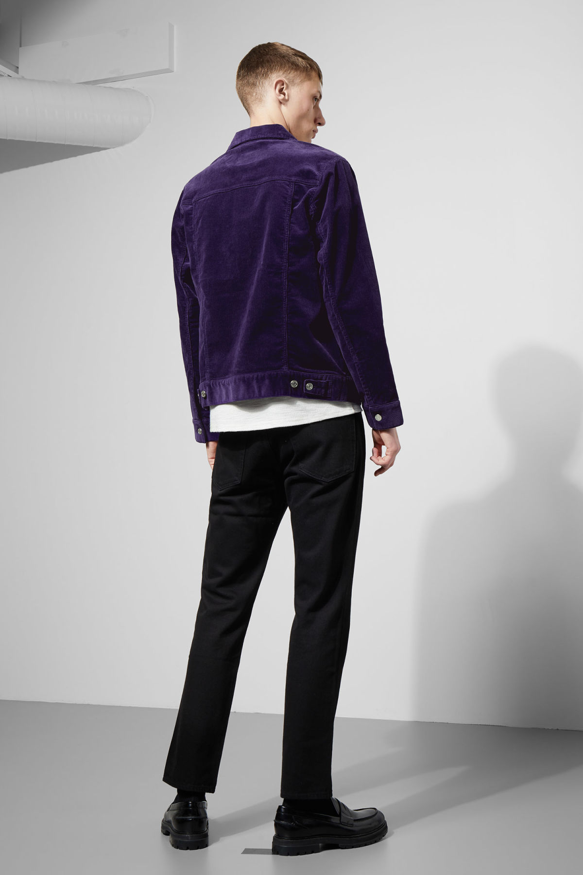 Model side image of Weekday single corduroy jacket in purple