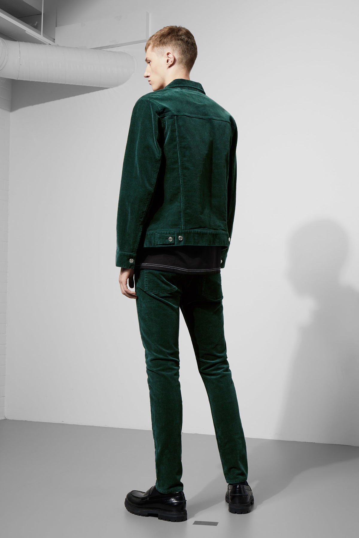 Model side image of Weekday single corduroy jacket in green