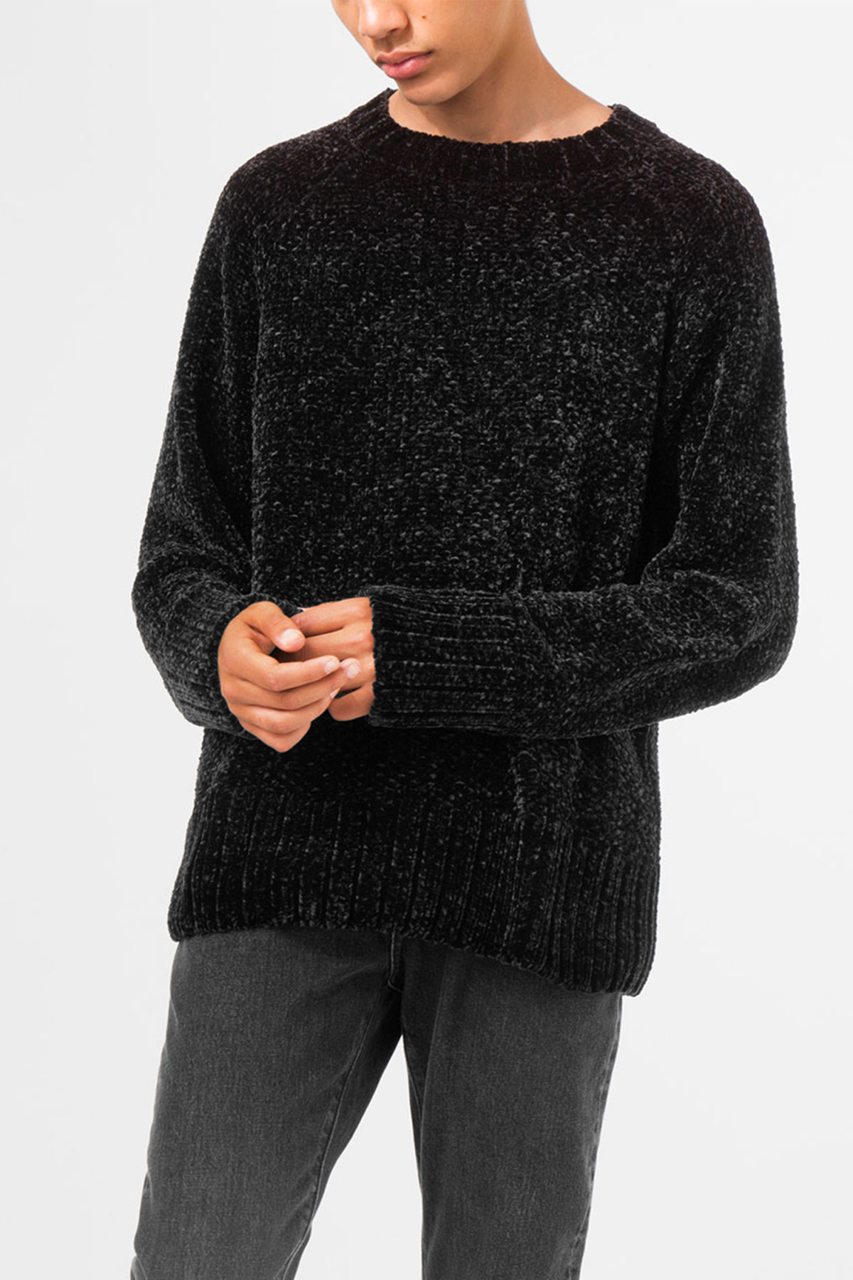 Model front image of Weekday chenille sweater in black