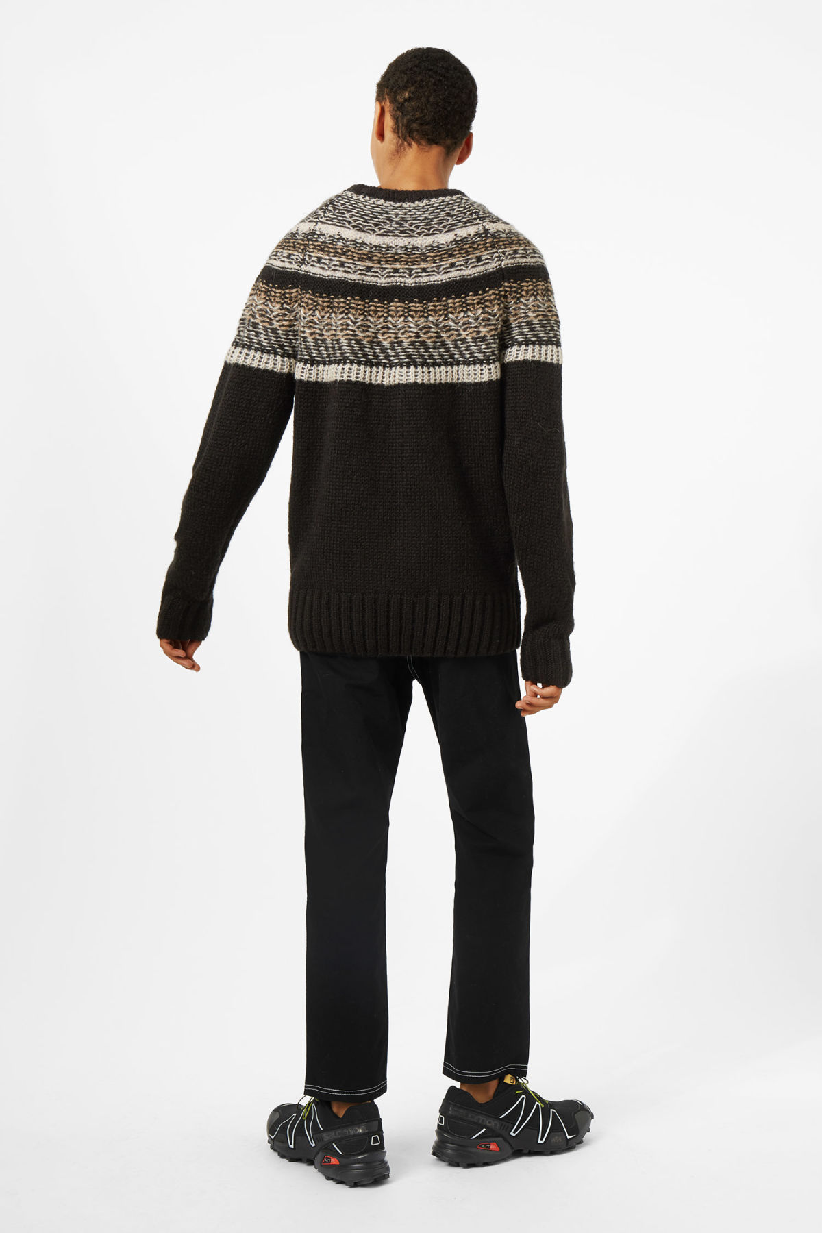 Model side image of Weekday geisir sweater in black