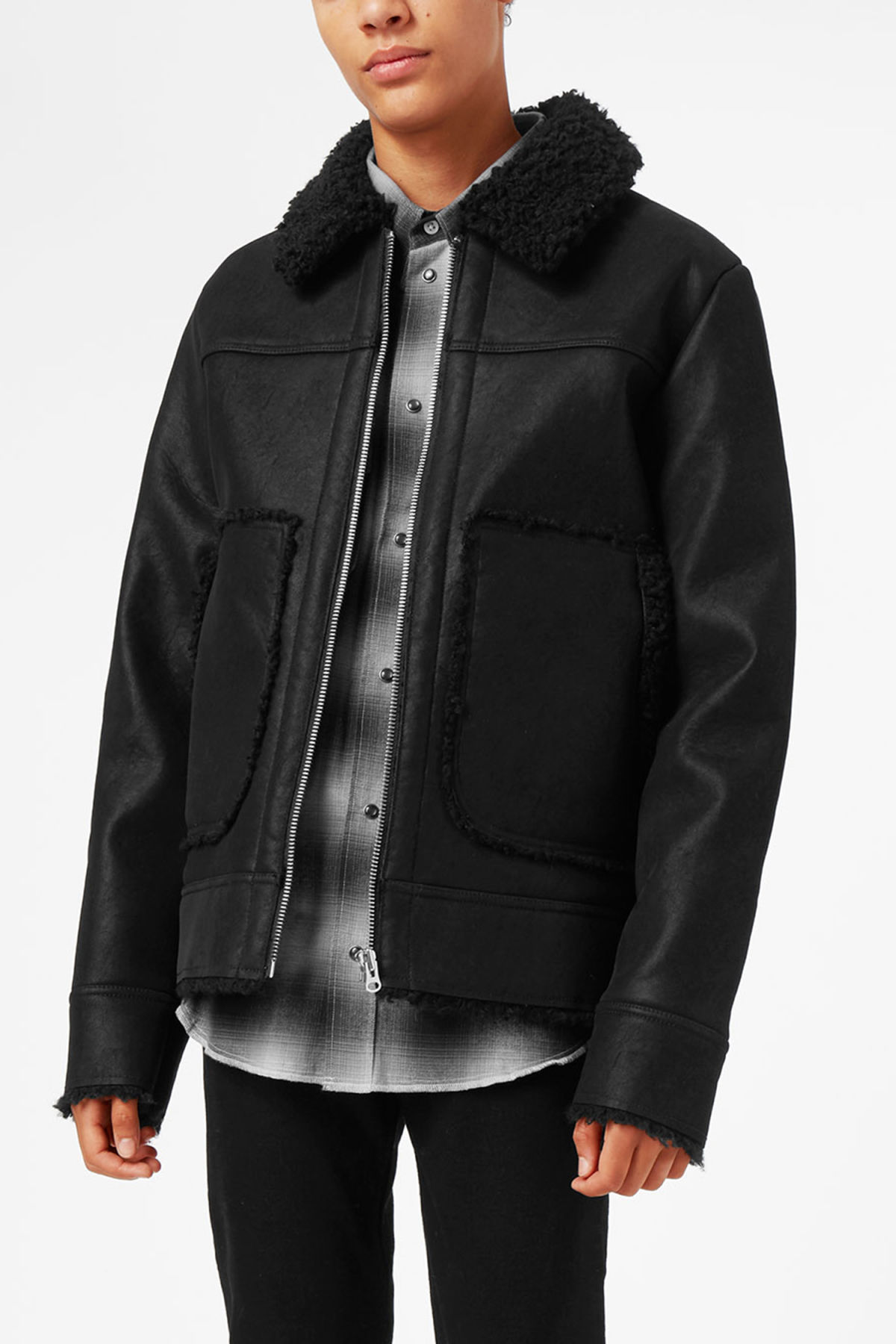 Model front image of Weekday mountain jacket in black