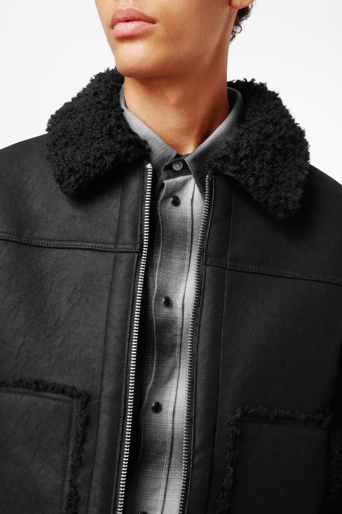 Model side image of Weekday mountain jacket in black