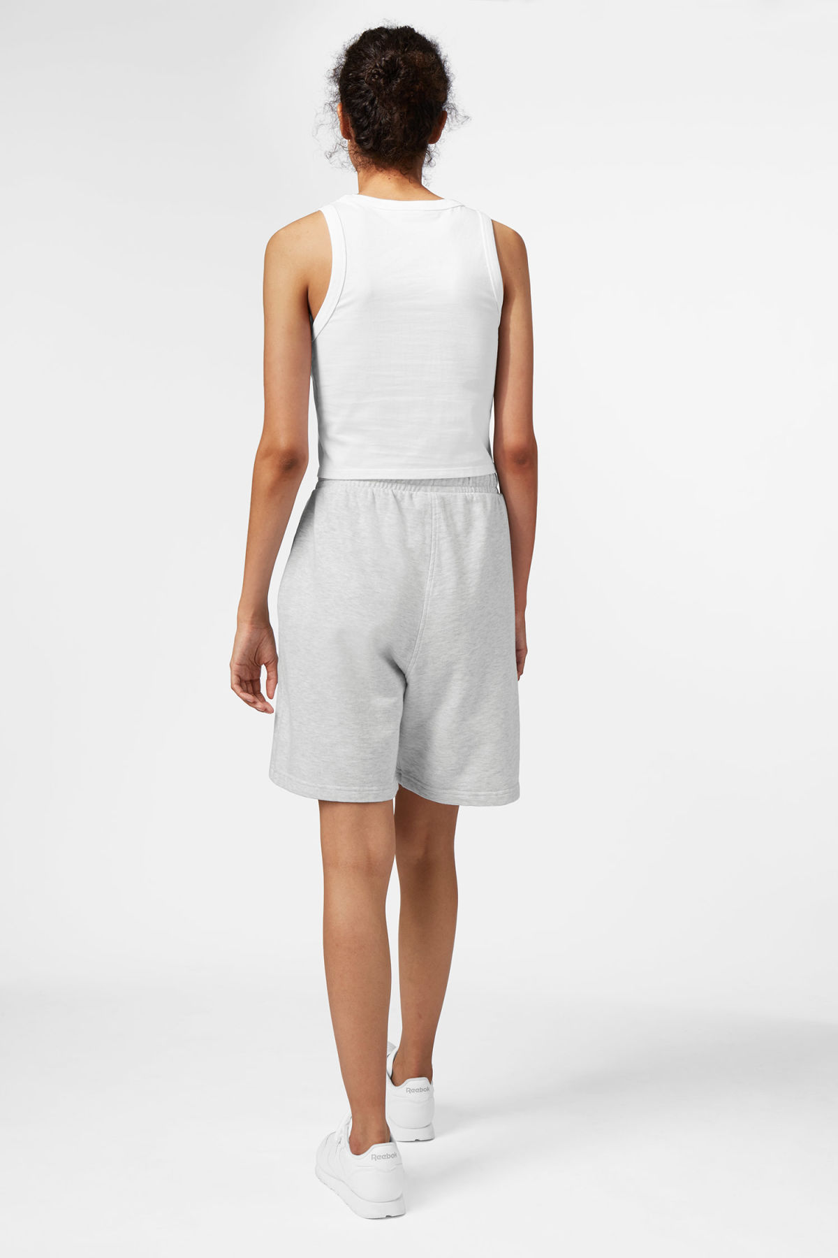 Model side image of Weekday hurdle shorts in grey